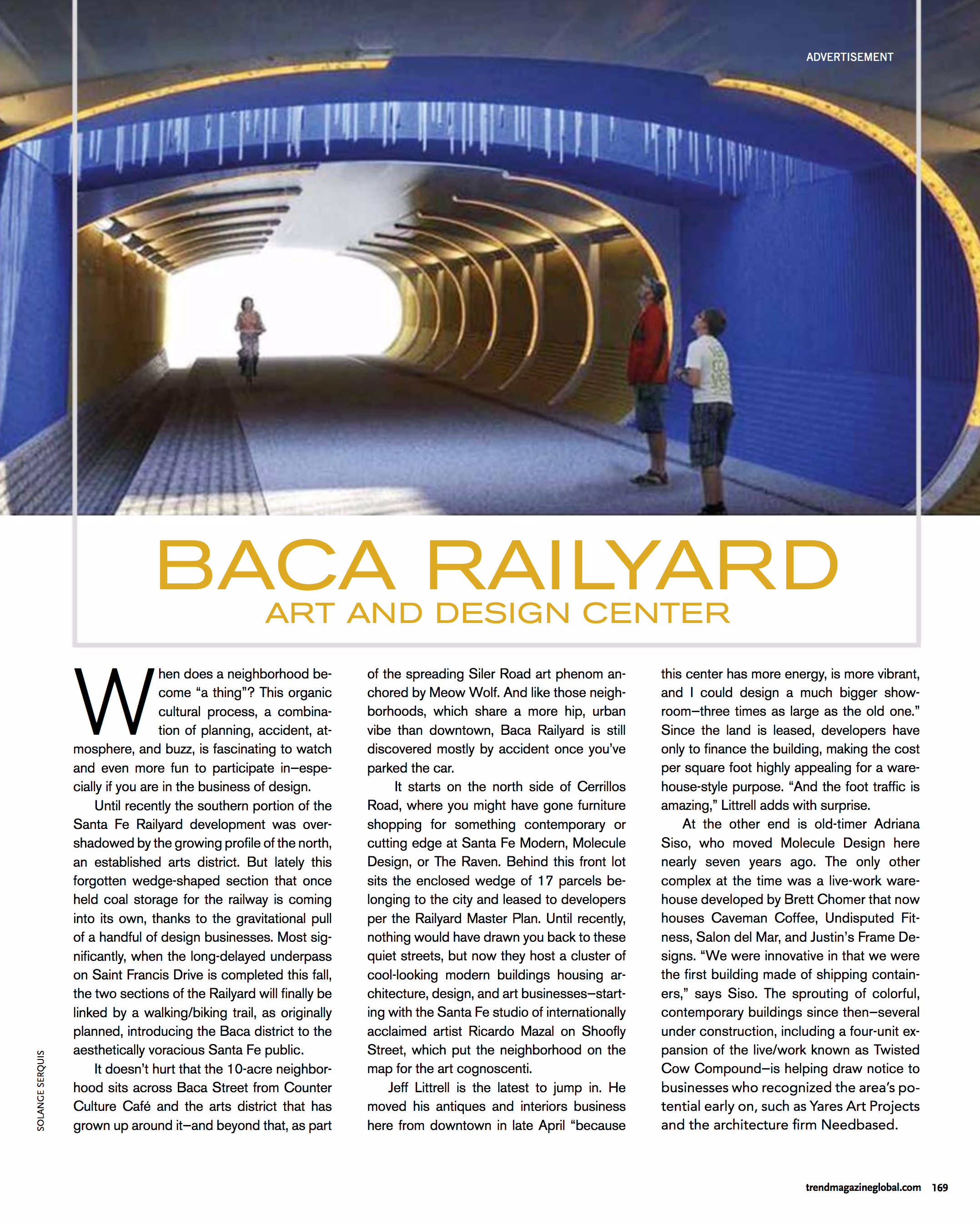 TREND magazine  highlights the Baca Railyard Art and Design Center, June 2017.