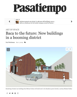 "Pasatiempo , reports on the new buildings, including the planned Trailhead Terraces, going up in the Baca Railyard and calls it a ""booming district'."