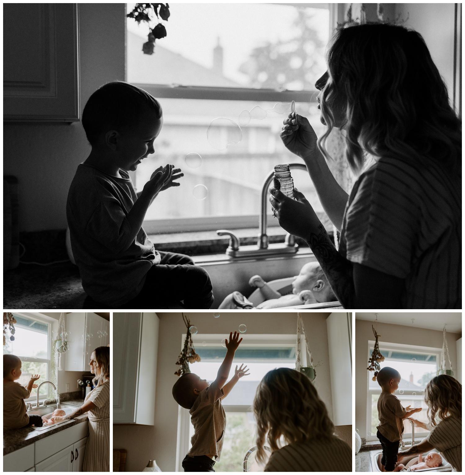 In Home newborn Session | Washington Lifestyle Family Photographer Jessica Heron Images | jessicaheronimages.com | Sink Bath Newborns with siblingsA.JPG