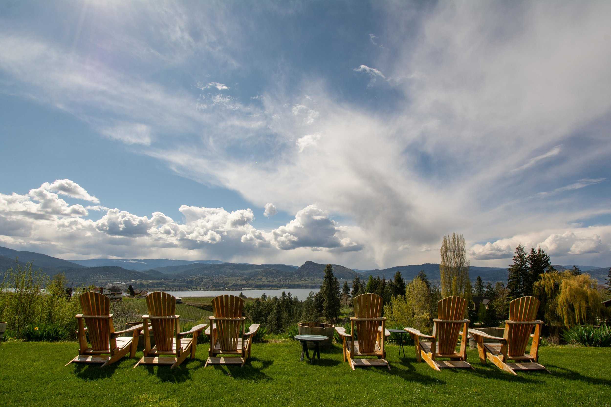 View from the lawn at Legend Distilling, Naramata