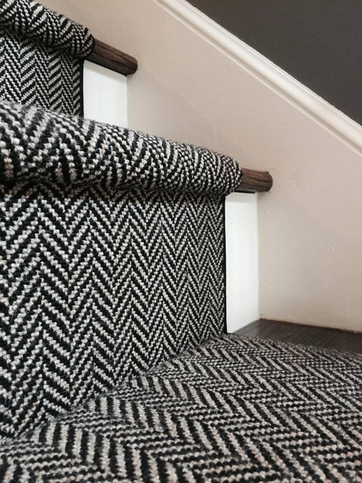 Herringbone runner..   ❤   I never loved our stairs more!