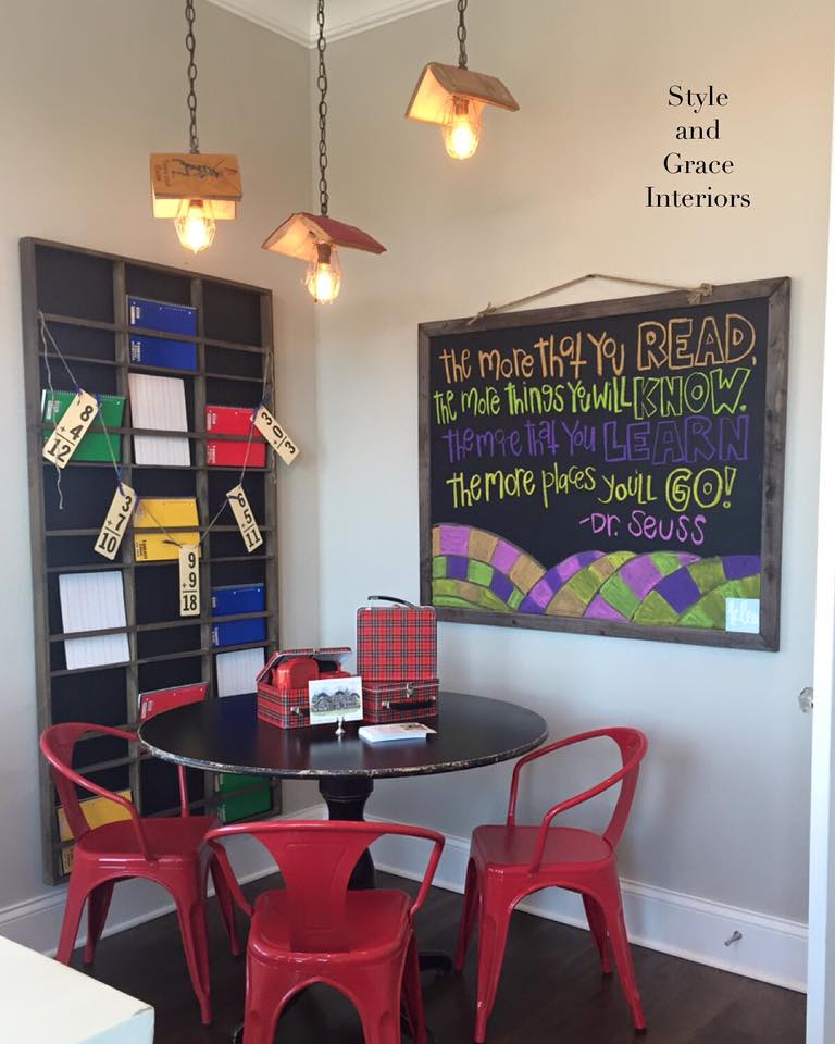 One of my favorite spaces...this children's study room was so fun to design! It's the perfect book for a study table and topping it off with these vintage book lights wraps it all up in a pretty little bow!