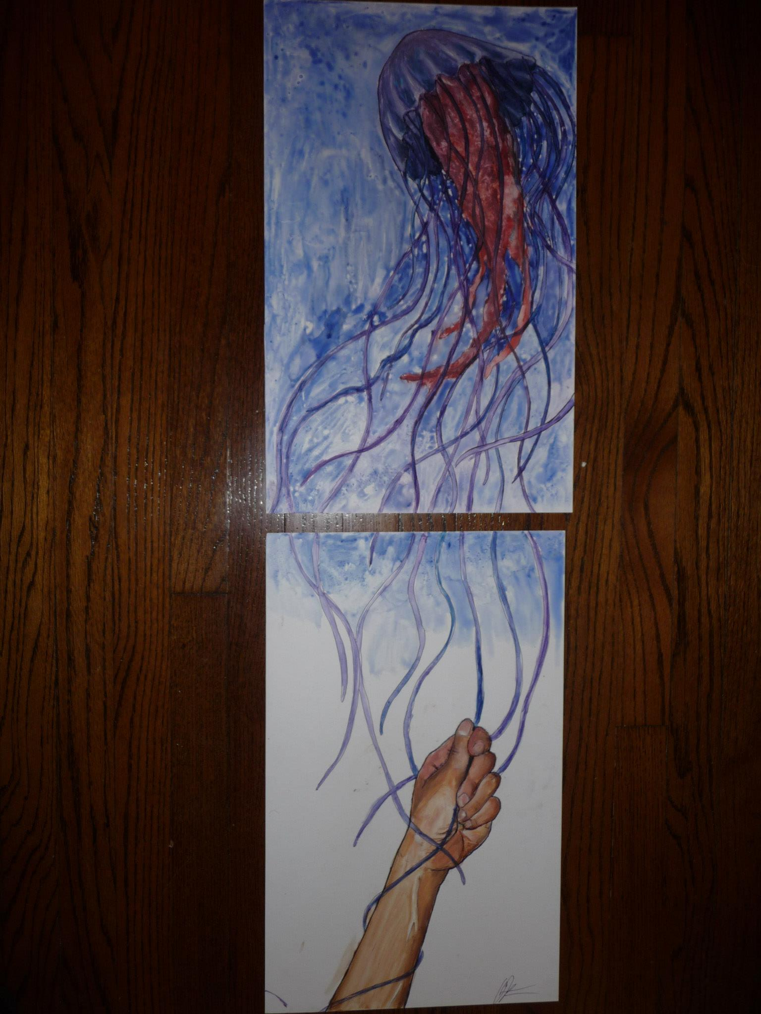 "Untitled, 2012  Watercolor Paint on 98"" x 29"" Yupo Paper"