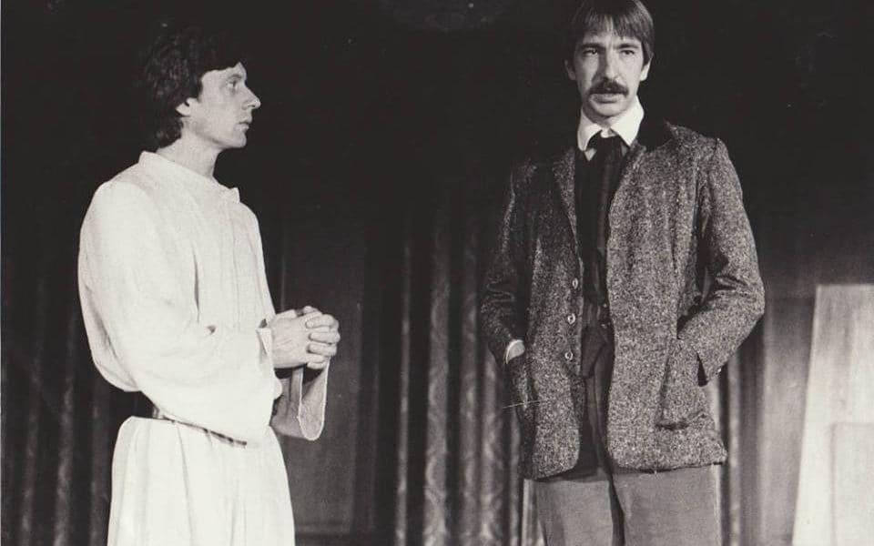 Stephen Boxer and Alan Rickman in Brothers Karamazov, 1981.