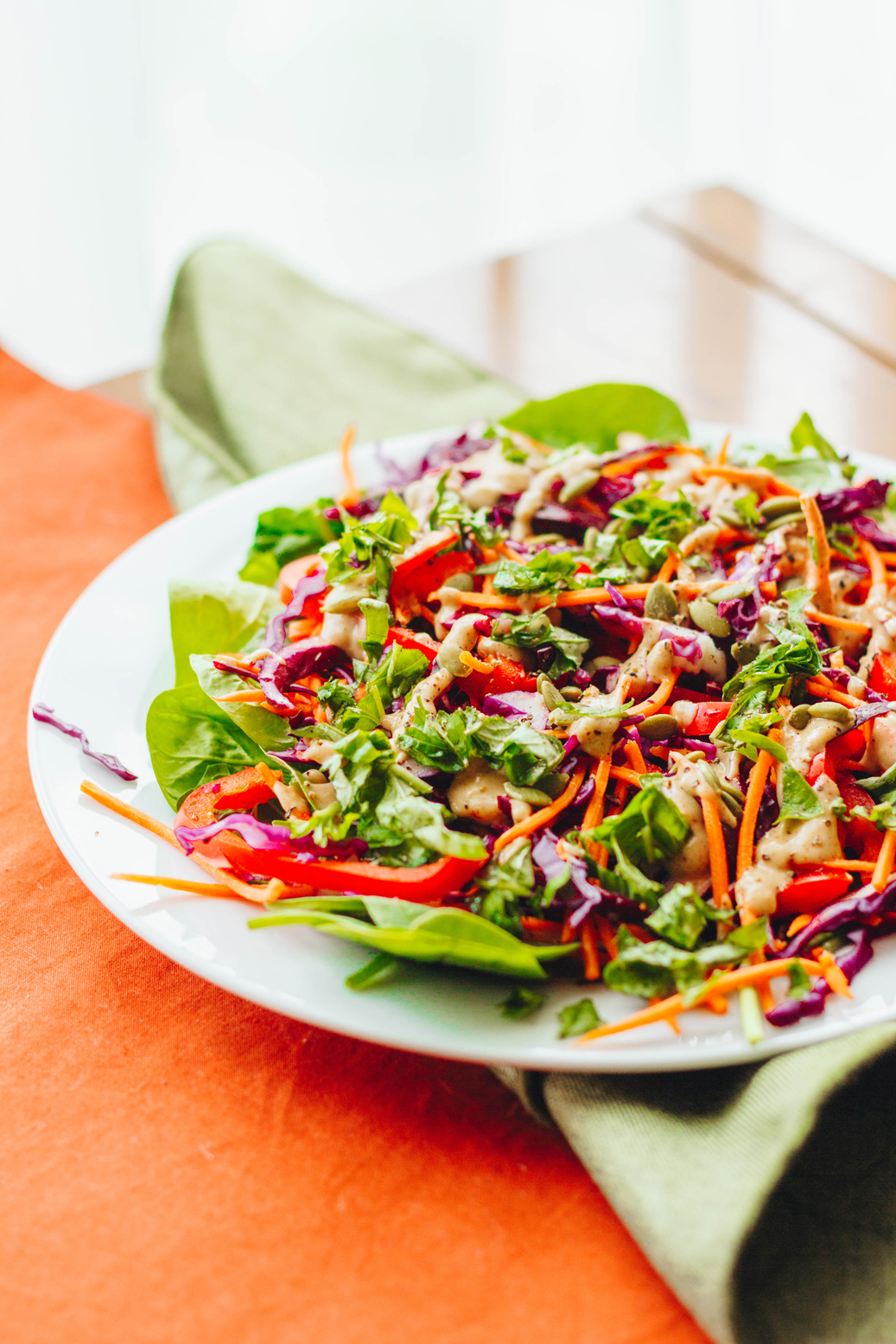 Thai Inspired Salad with Spicy Peanut Dressing