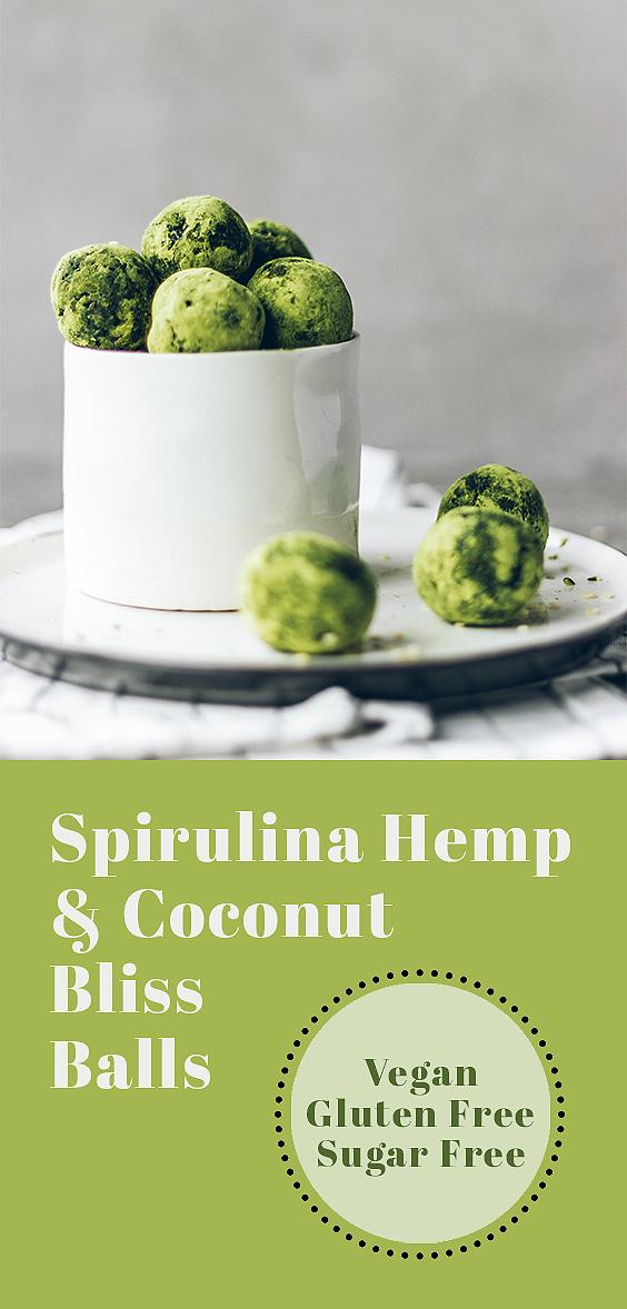 Spirulina Hemp and Coconut Bliss Balls (Sugar Free!)