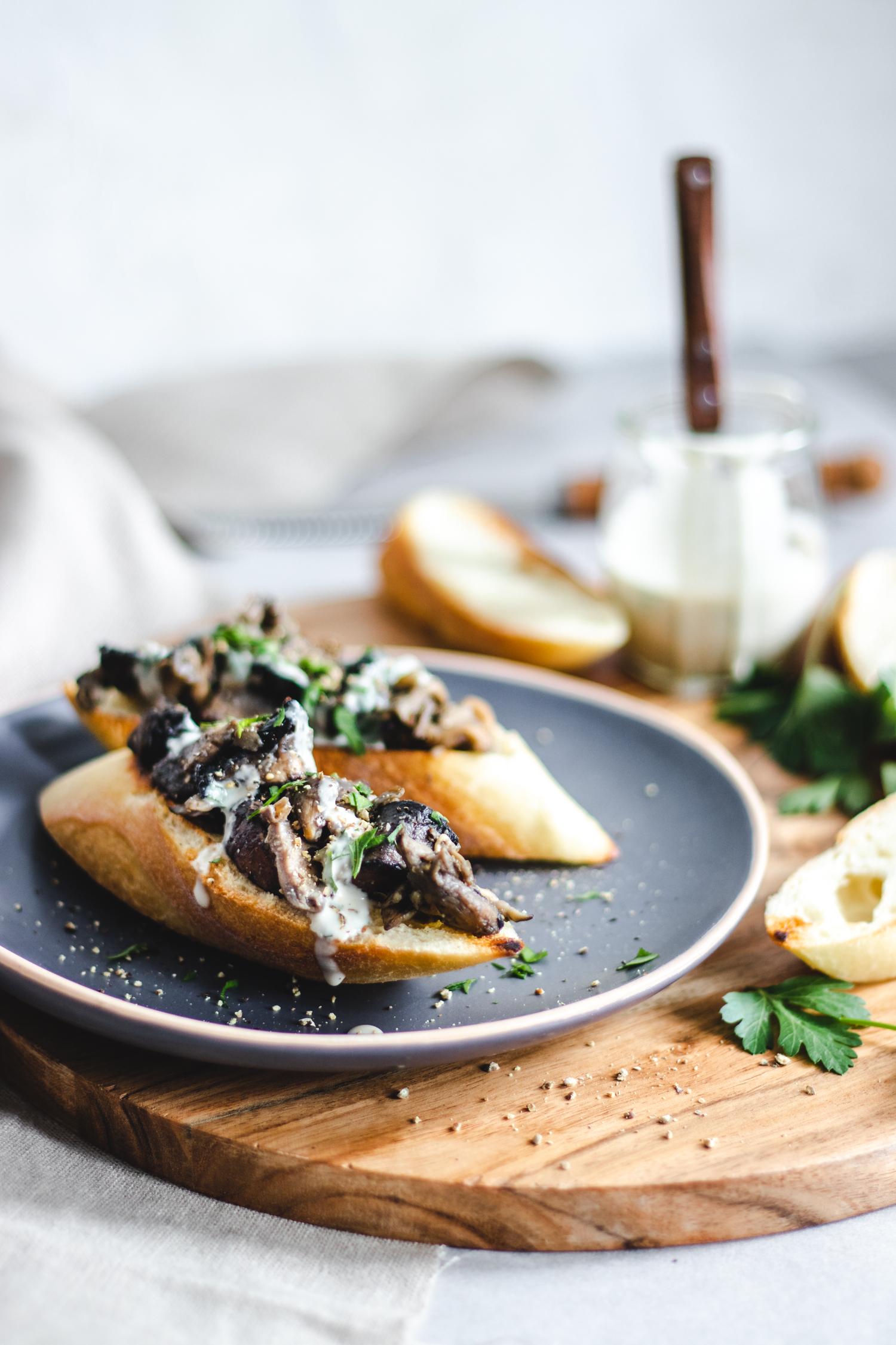 Miso Mushroom Toast with Tahini Parsley Drizzle