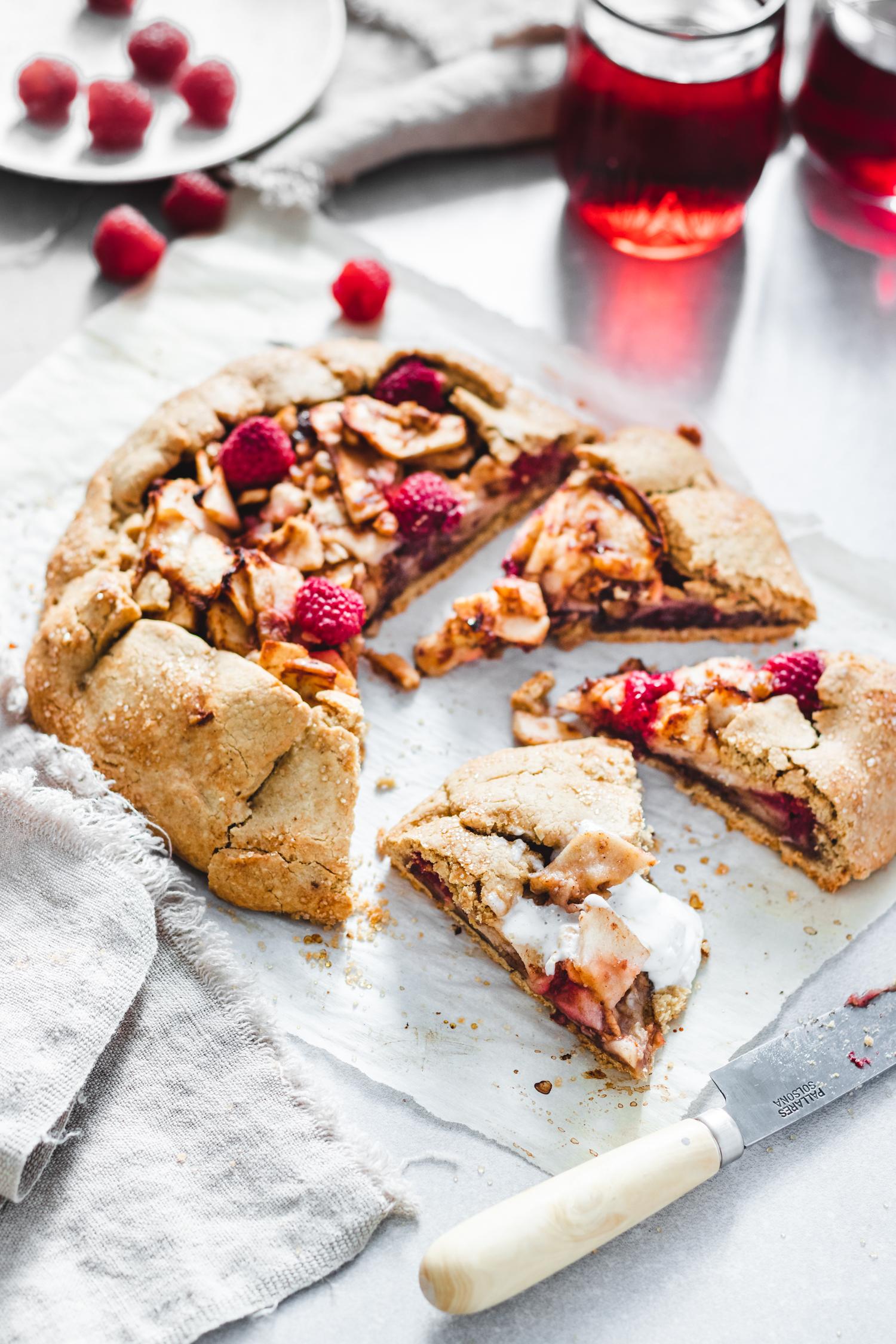 Raspberry and Apple Galette (Gluten Free & Vegan)
