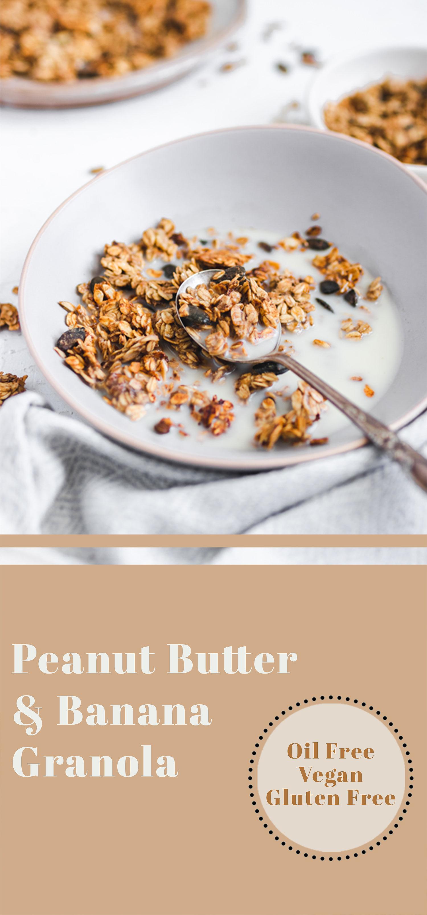 Oil Free Peanut Butter & Banana Granola