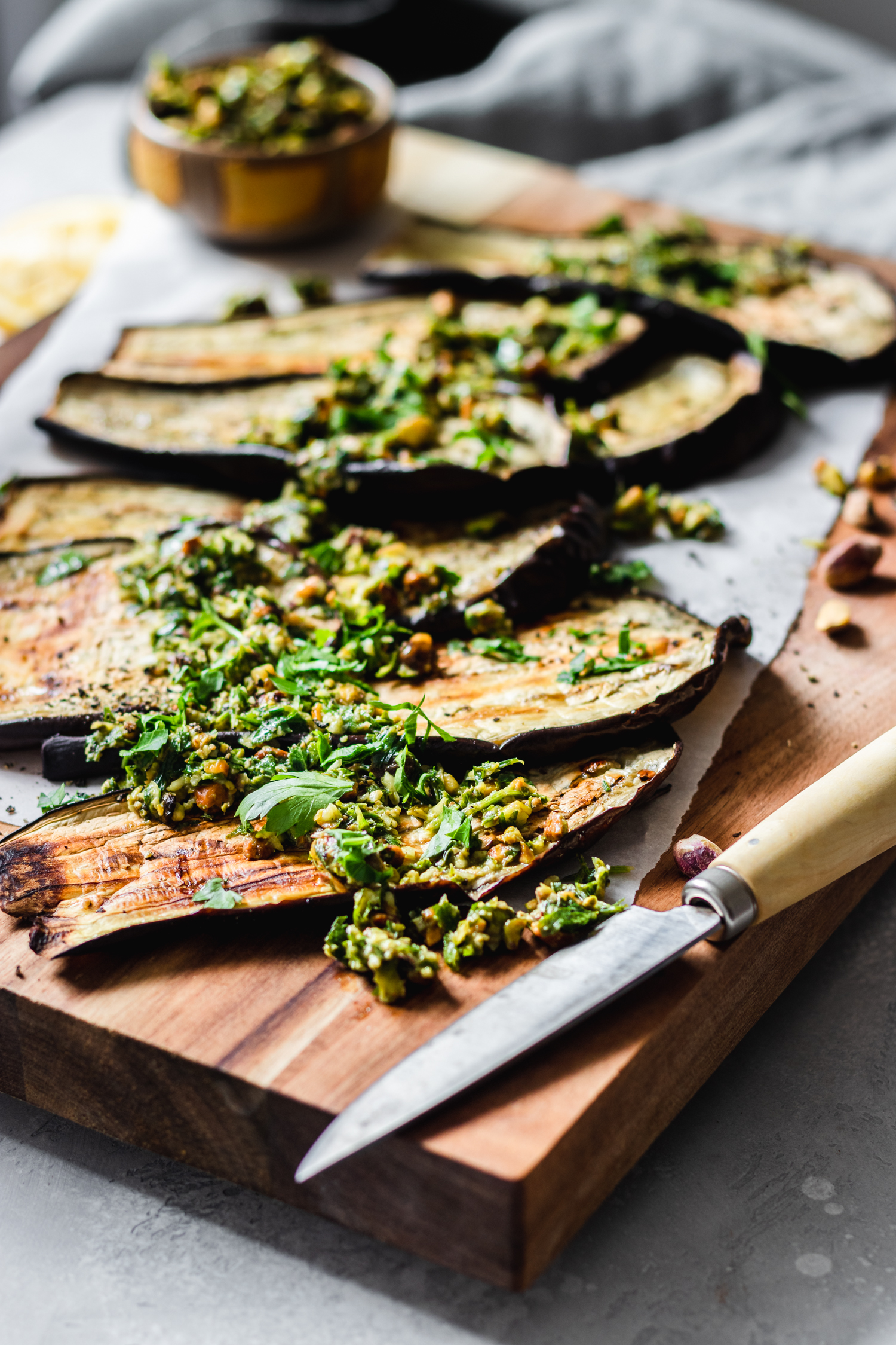 Roasted Eggplant with Pistachio Gremolata