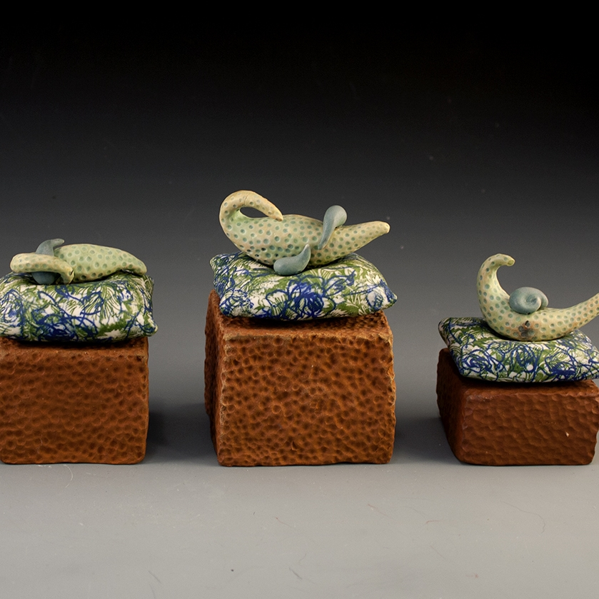 """Inhabitance  Brown Stoneware, Porcelain, Underglaze, Cone 8 oxidation 12"""" x 4"""" x 3.5"""""""