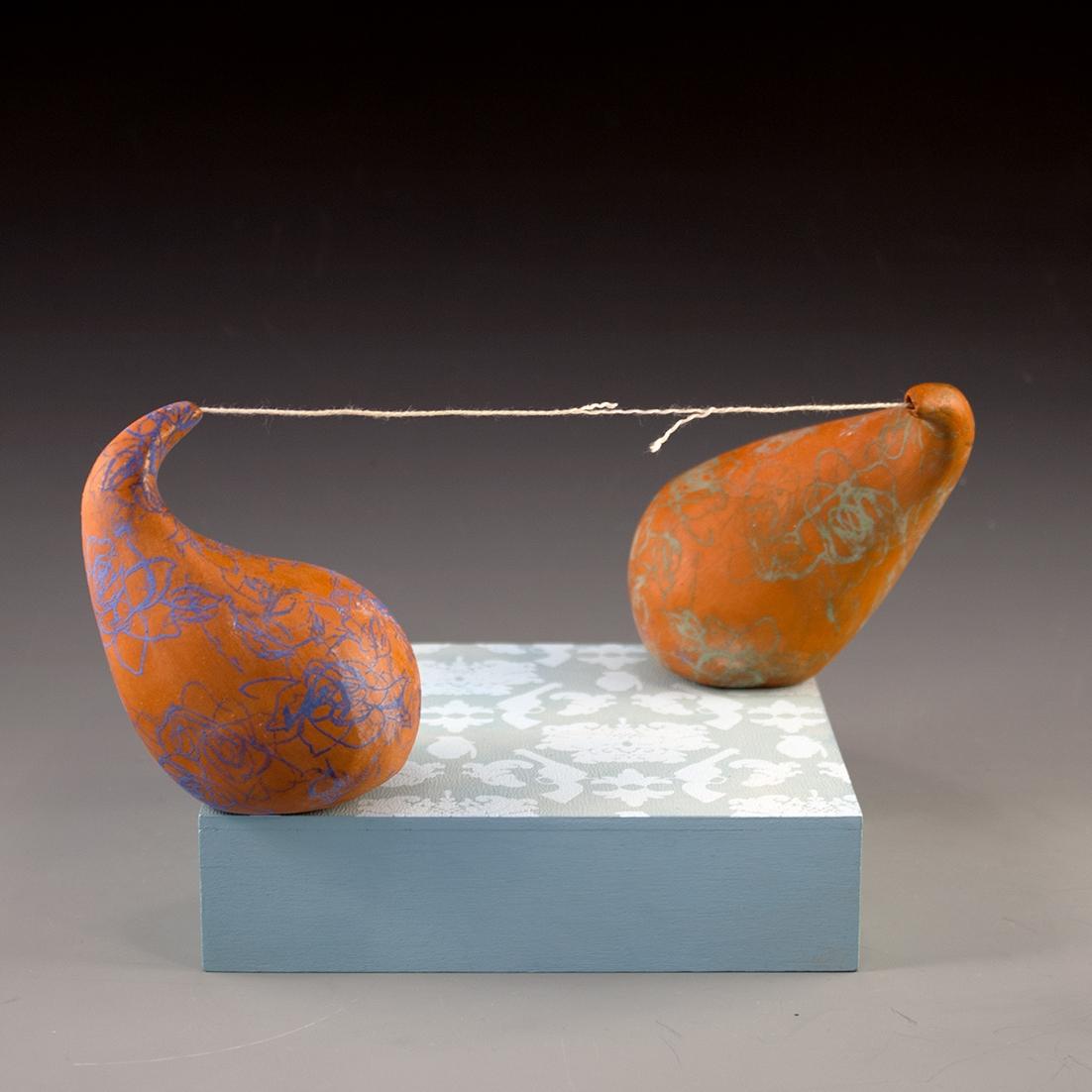 "Deciphering Fiction  Terracotta, Wood, String, Underglaze, Cone 06 oxidation 6"" x 6"" x 6"""