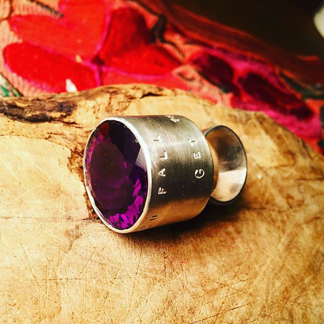 Ring: if you fall, get the F up! Inspirational! Huge! Fun! #ring #largering #amethyst #silver #artobject #oneofakindjewelry #oneofakind #hugering #cocktailring #art #fun #spring #brooklynjewelry