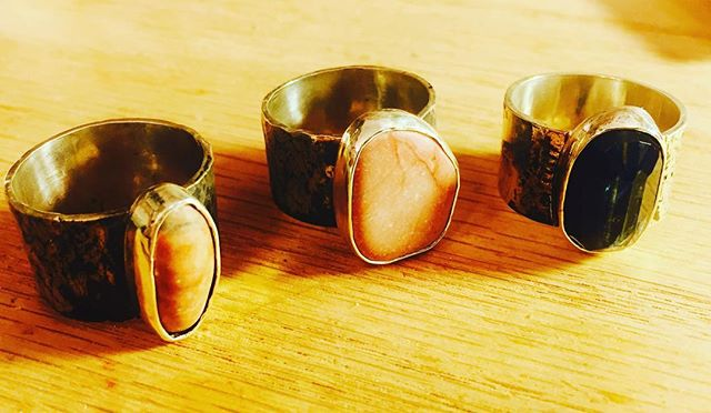 Byzantine like rings with the stones from Greece and India. #silver #bluestone #chunkyring #art #artjewelry  #triplets #kayanate soldrings he #morerings #neverenoughrings #