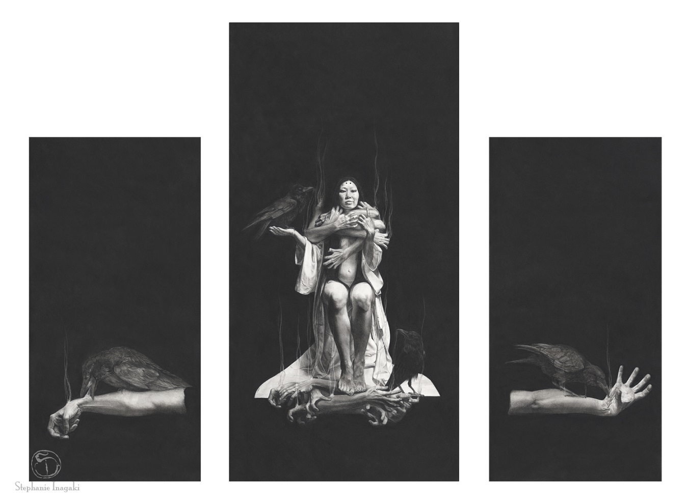 Stephanie Inagaki/The Exorcism of Disembodied Souls and The exorcism—Deamonaster 1 & 2 (triptych), 2014