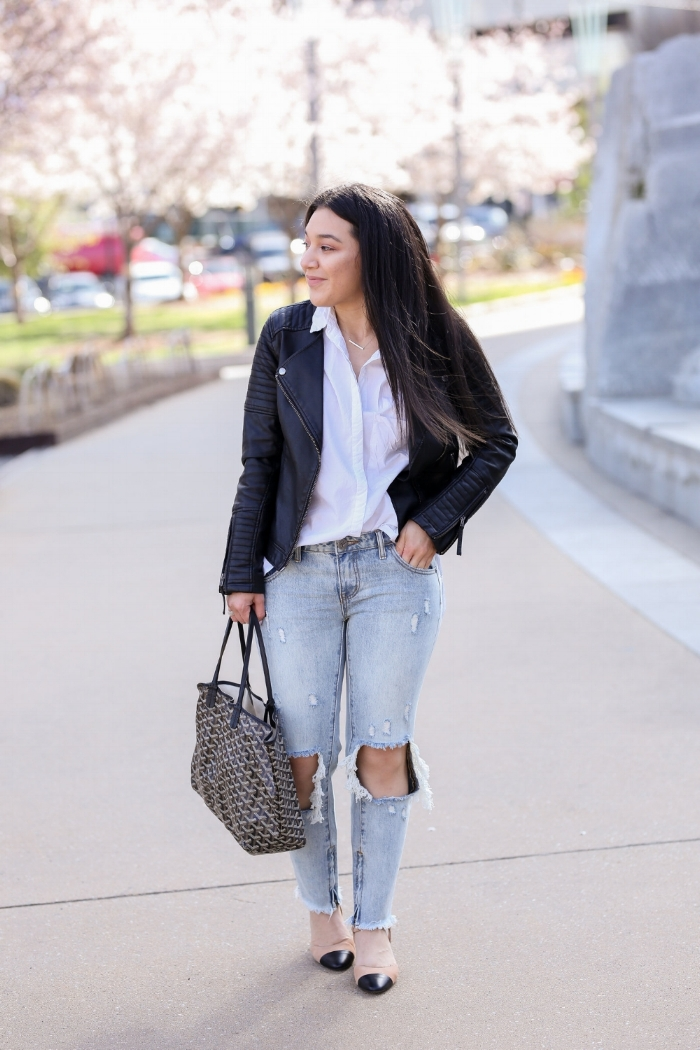 Cindy   Velasquez  of  CindyRoxana  is wearing a  Nasty Gal  top, a  Topshop  leather jacket,  One Teaspoon Jeans ,  Zara  shoes and a    Goyard  bag. Photography by  Deeana Beckley .