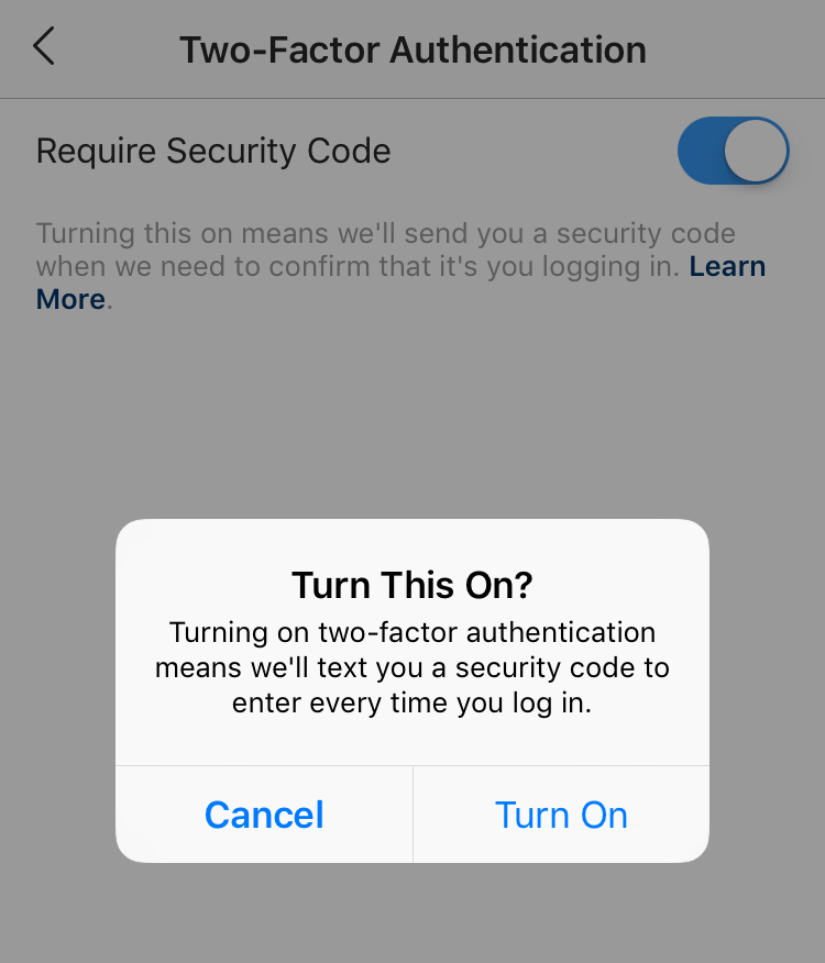 This is what Two-Factor Authentication looks like on Instagram.