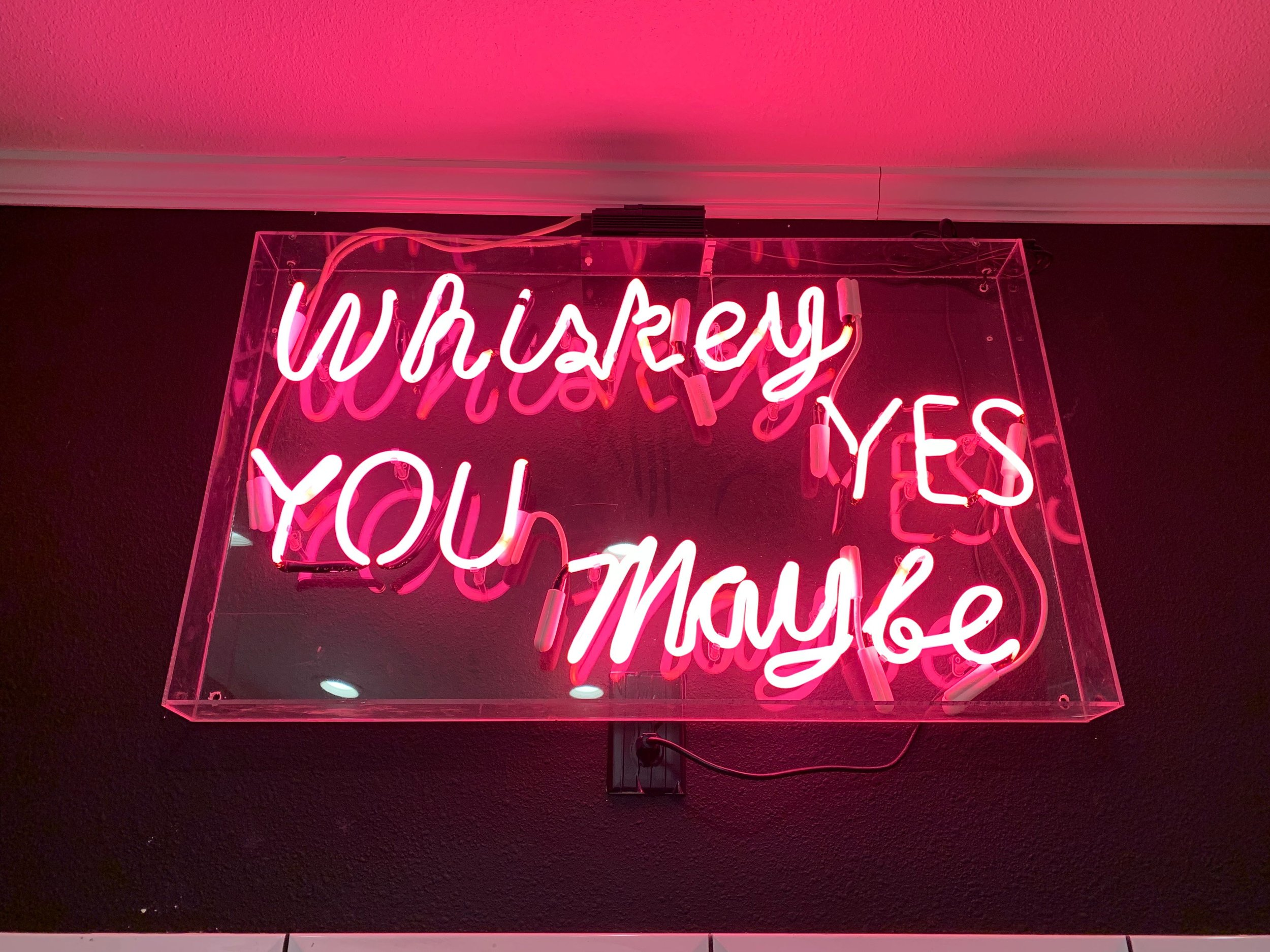 The neon light inside of the  women's  bathroom at Whiskey Tango Foxtrot in Austin. Double points.