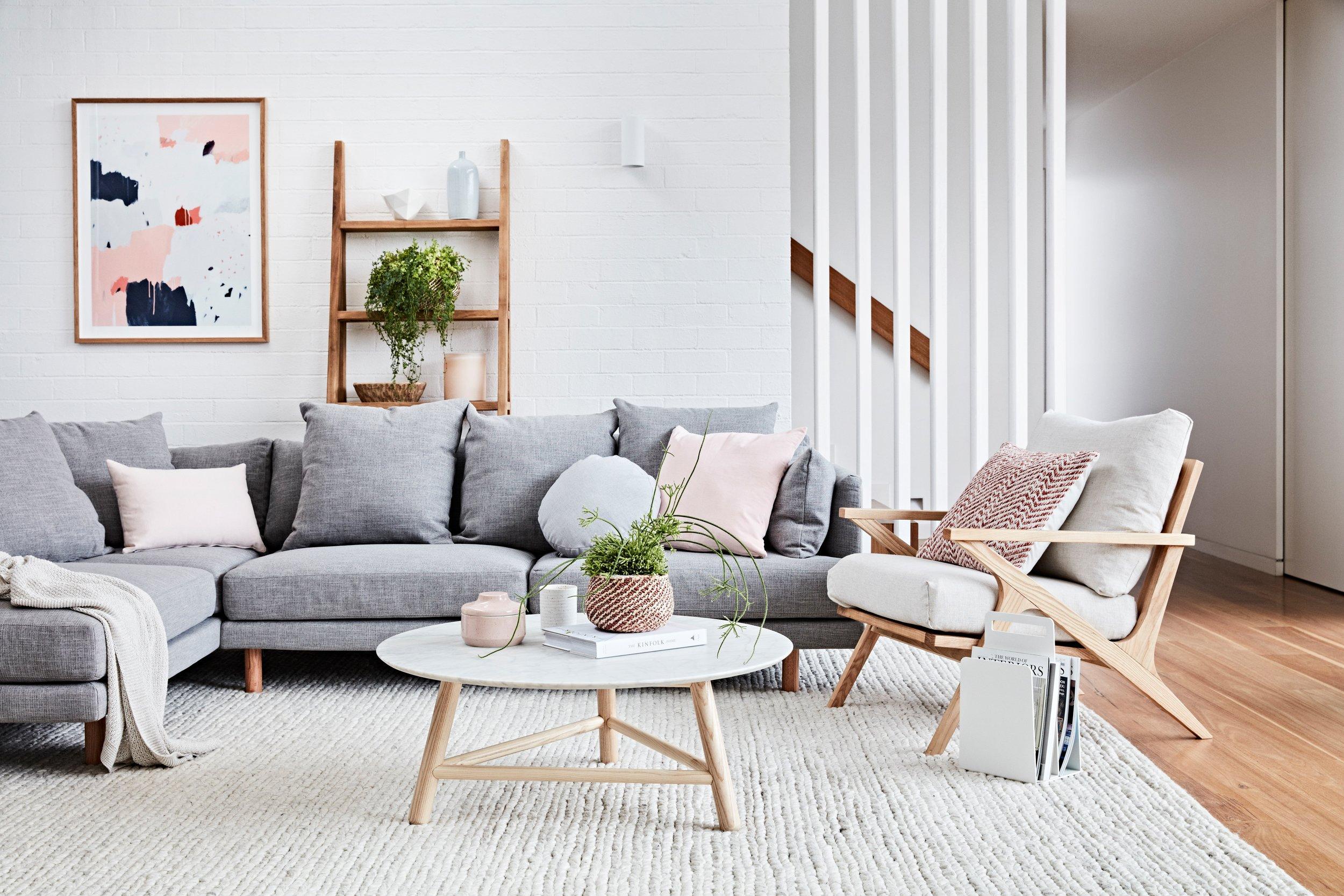 Vittoria iris sofa, vittoria folk chair, sloan coffee table & southport tall shelf GW
