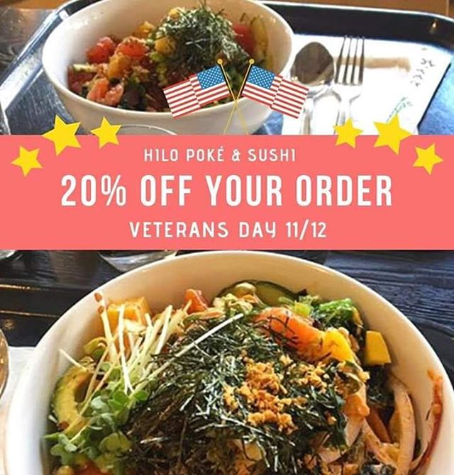 Calling all veterans and active duty military!!! Come in on Monday 11/12 and receive 20% off your order in honor of Veterans Day! 🇺🇸🙌 Tag a service member who loves sushi in the comments! 😋🍣 **Valid form of military ID required**