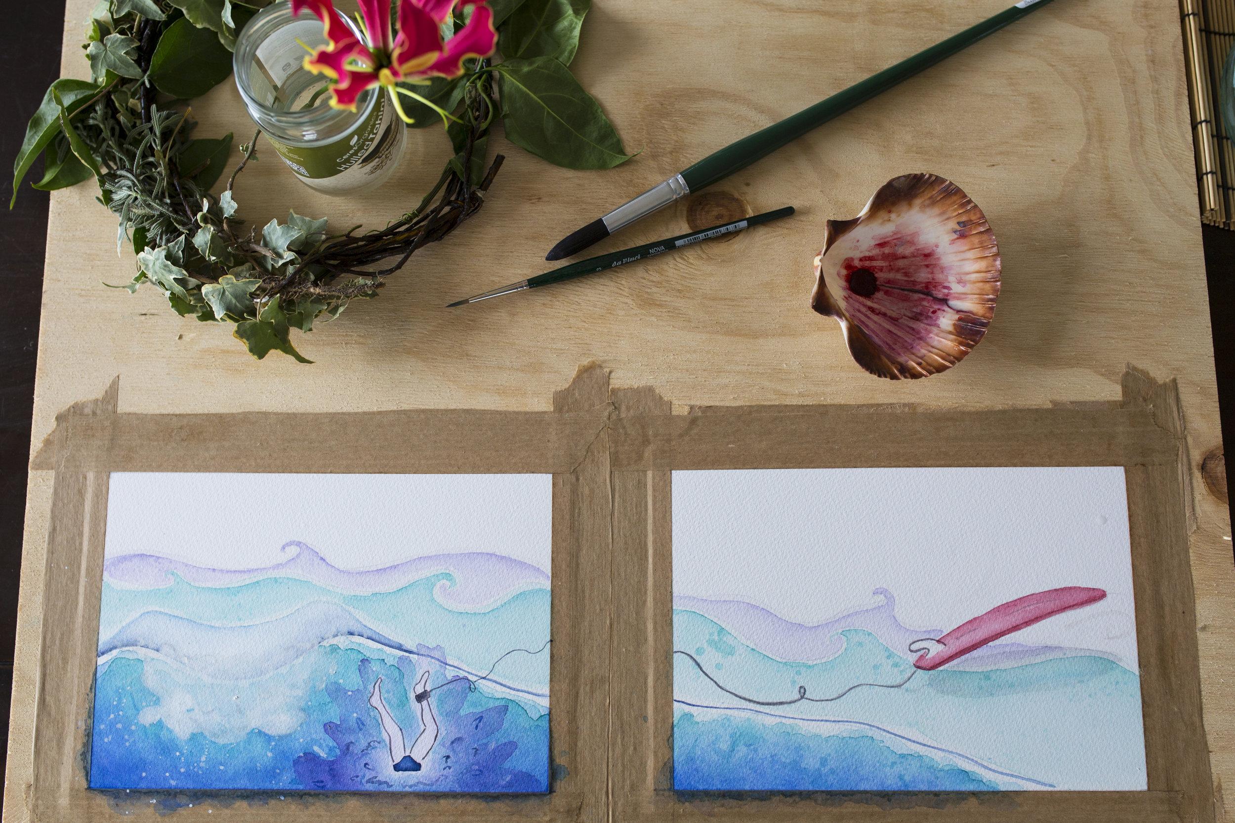 children's book surfing illustration