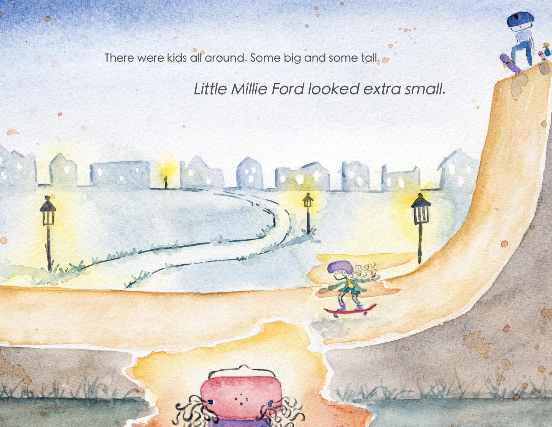 Little-Millie-Ford-and-Her-New-Skateboard-children's-book-skate-ramp