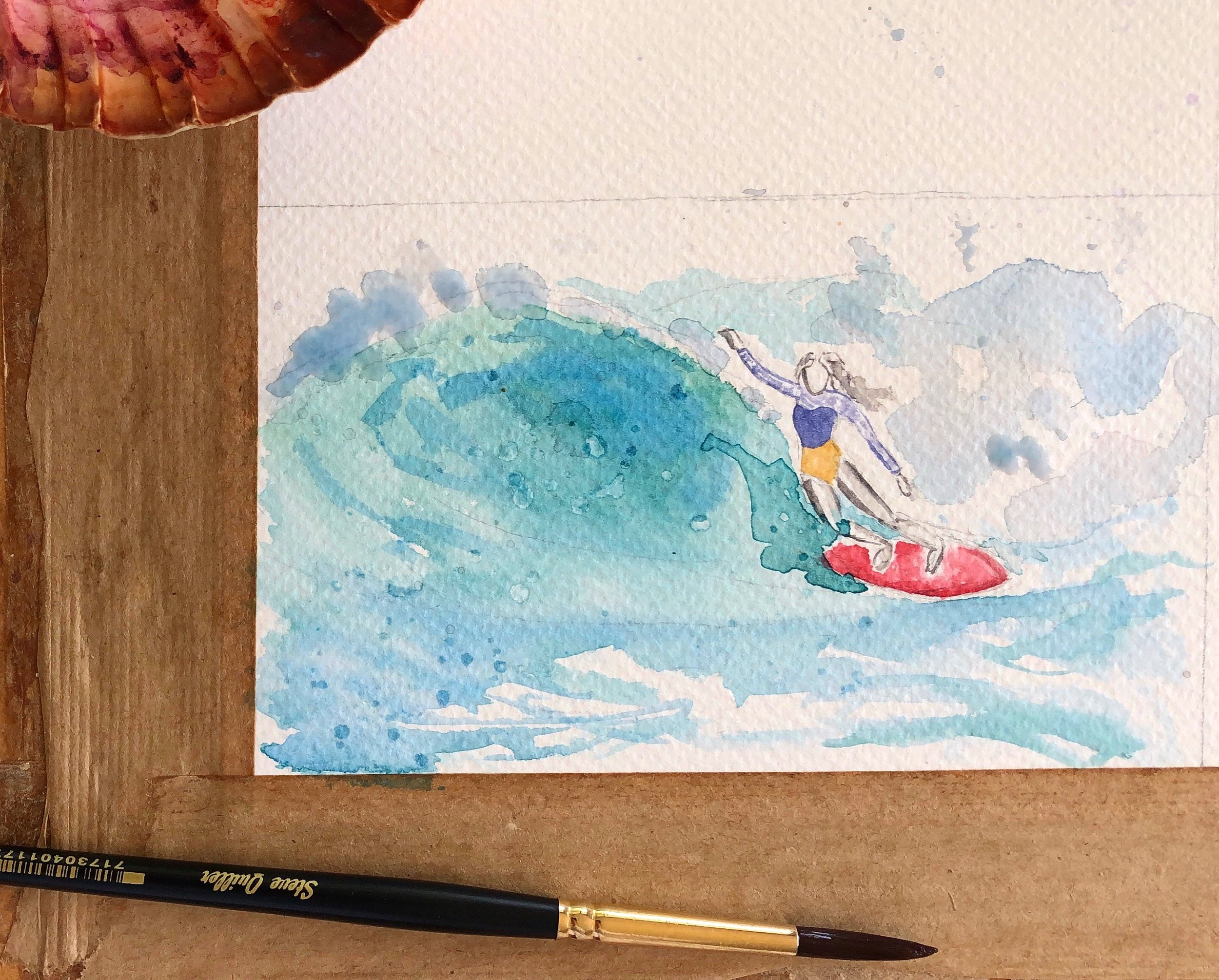 Surfer-Girl-Watercolor-Illustration-Tribe-of-Daughters