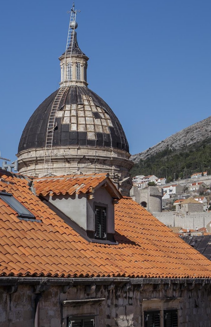 Storm damage to the Cathedral in Dubrovnik