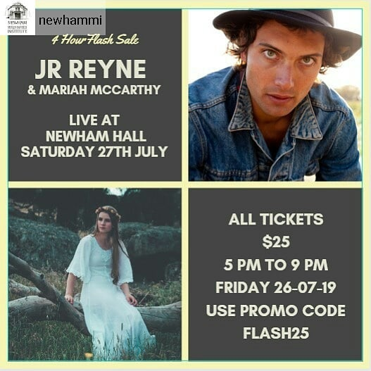 #Repost from @newhammi  With a small number of tickets left for Saturday nights music spectacular featuring @jrreyne and @mariahmccarthymusic we want to ensure a full house, so are having a four hour flash sale from 5pm tonight, where we are giving away tickets for $25.  For less than the price of a decent Parma you can get 3 hours of the best quality live music in the Macedon Ranges this weekend.  Limited time for this special offer. Get your tickets tonight. Link in bio. Use the code FLASH25