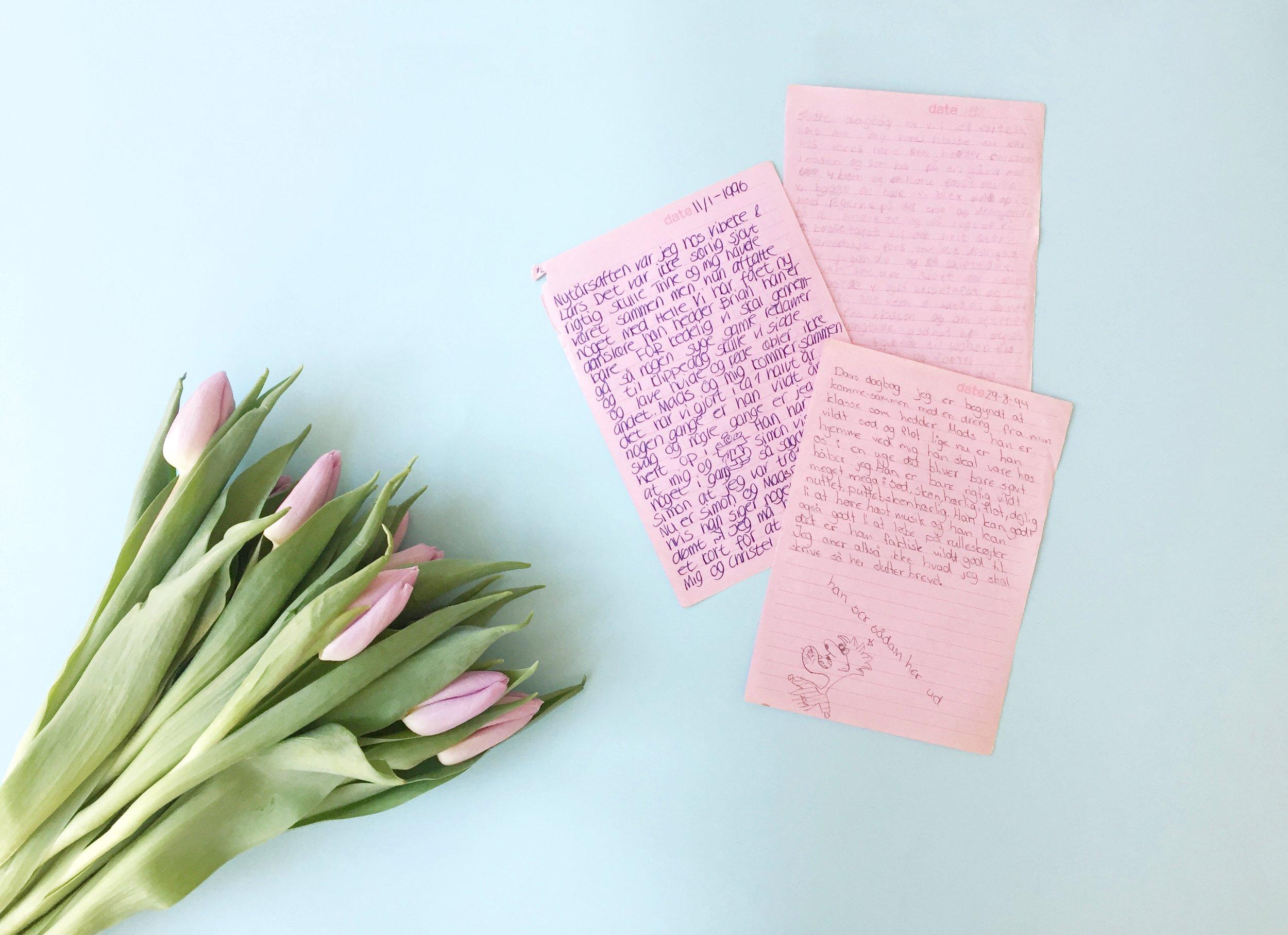 3 sider fra en dagbog, der var spækket med forelskelse, intriger og drama. Præcis som kærligheden skal være, når man er 12 år gammel