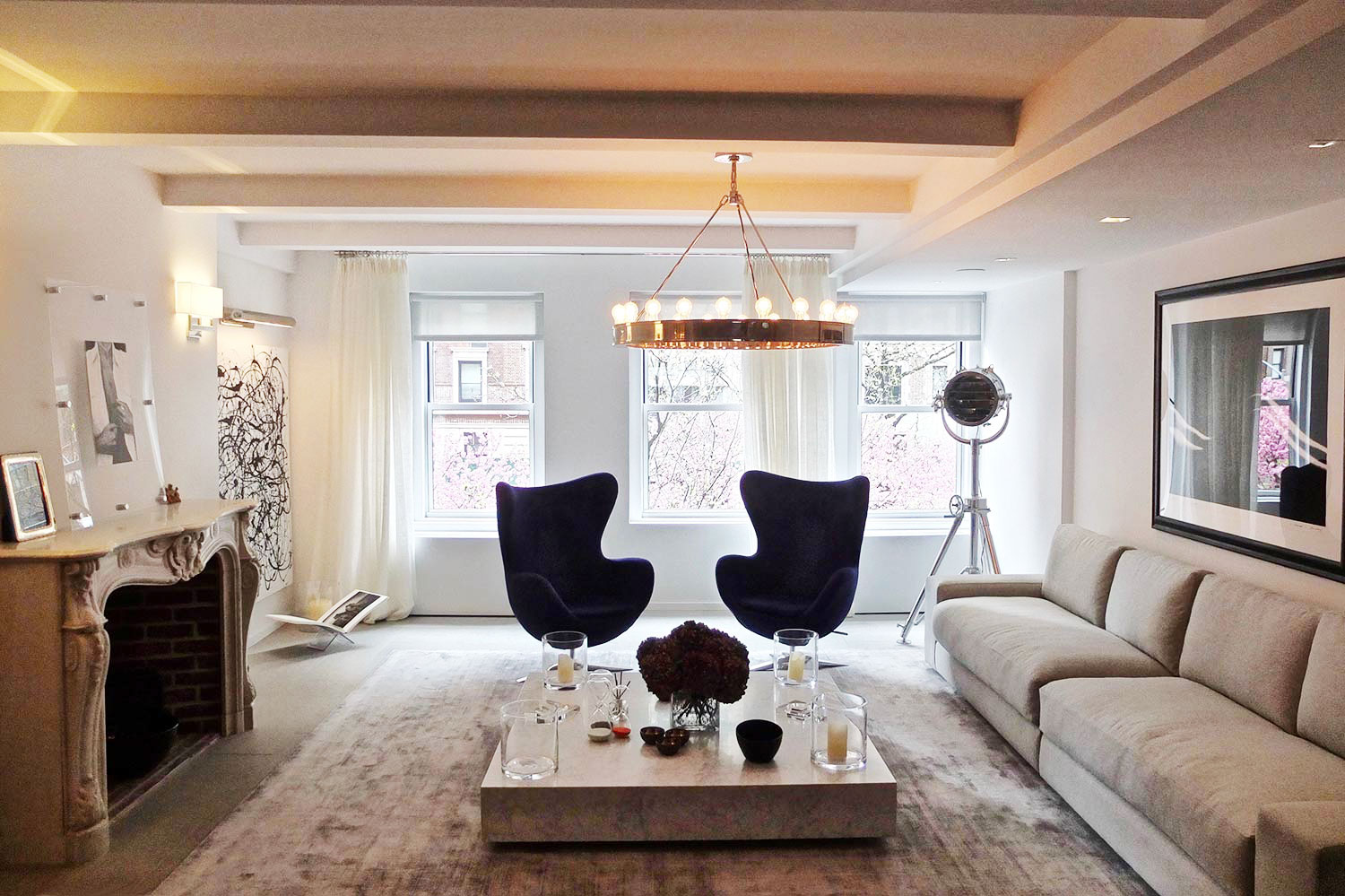 "Upper East Side Manhattan | New York   Fabrics, leather and rugs in beige and grey tones set up a smooth and easy mood throughout this spacious ""loft-like"" apartment."