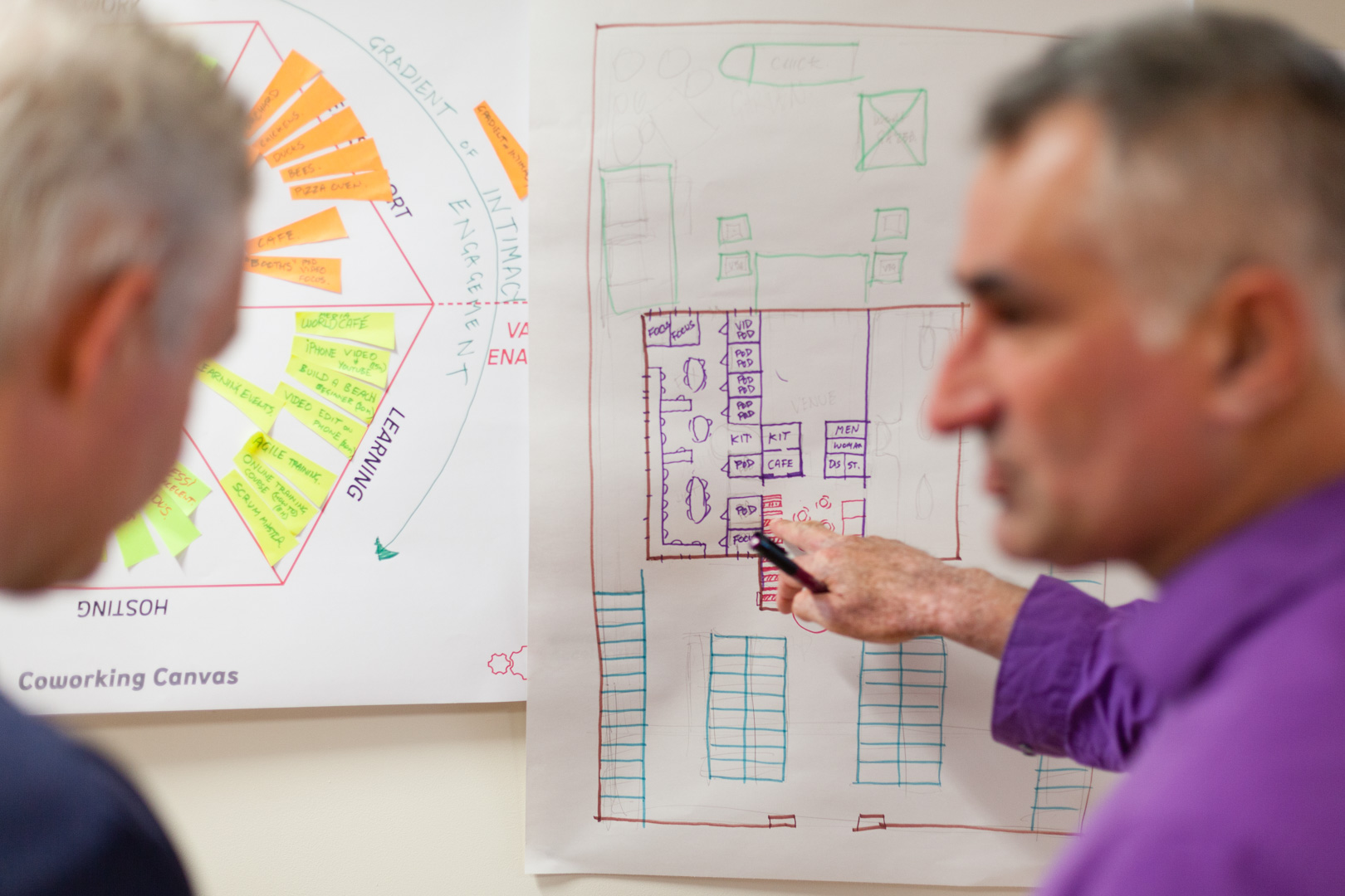 Darius explaning floorplan to Cass