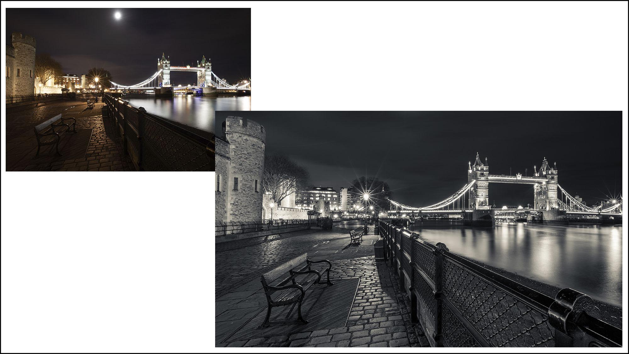 Lesson 10 – London at night - Edit - In this edit, I'll teach you how to enhance night photography in Lightroom. We'll change the shot black and white, enhance contrast, darken highlights, balance the exposure of the scene with range masking, and add split toning. We'll then go into Photoshop to remove people from the pathway. Again, the Raw files are provided so you can work along and learn with me.