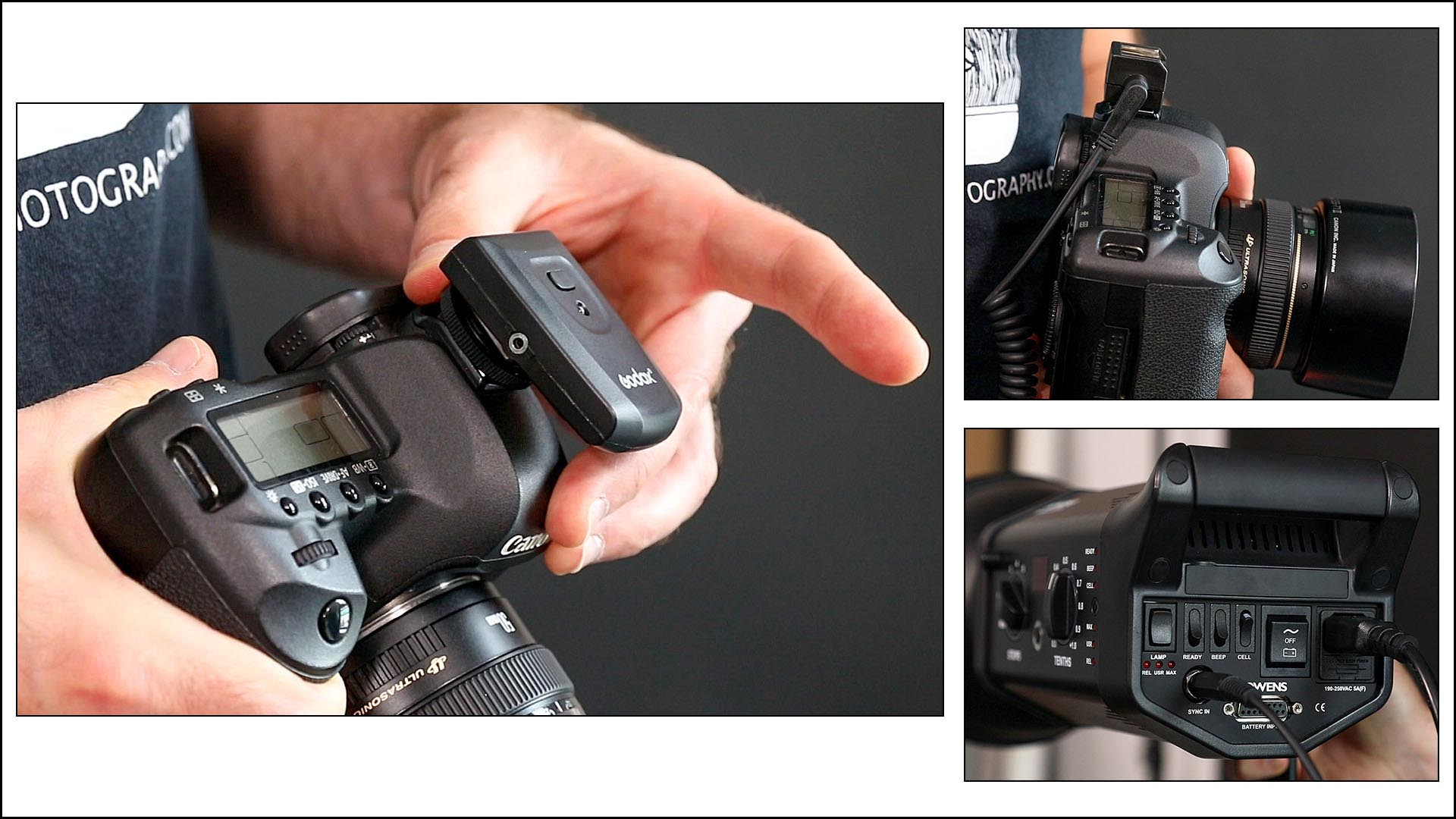 Lesson 5 – Connecting camera to flash heads - There are several ways to connect your camera to the flash heads. In this lesson you'll be taught the pros and cons between remote triggers and sync cords, and how to use them.