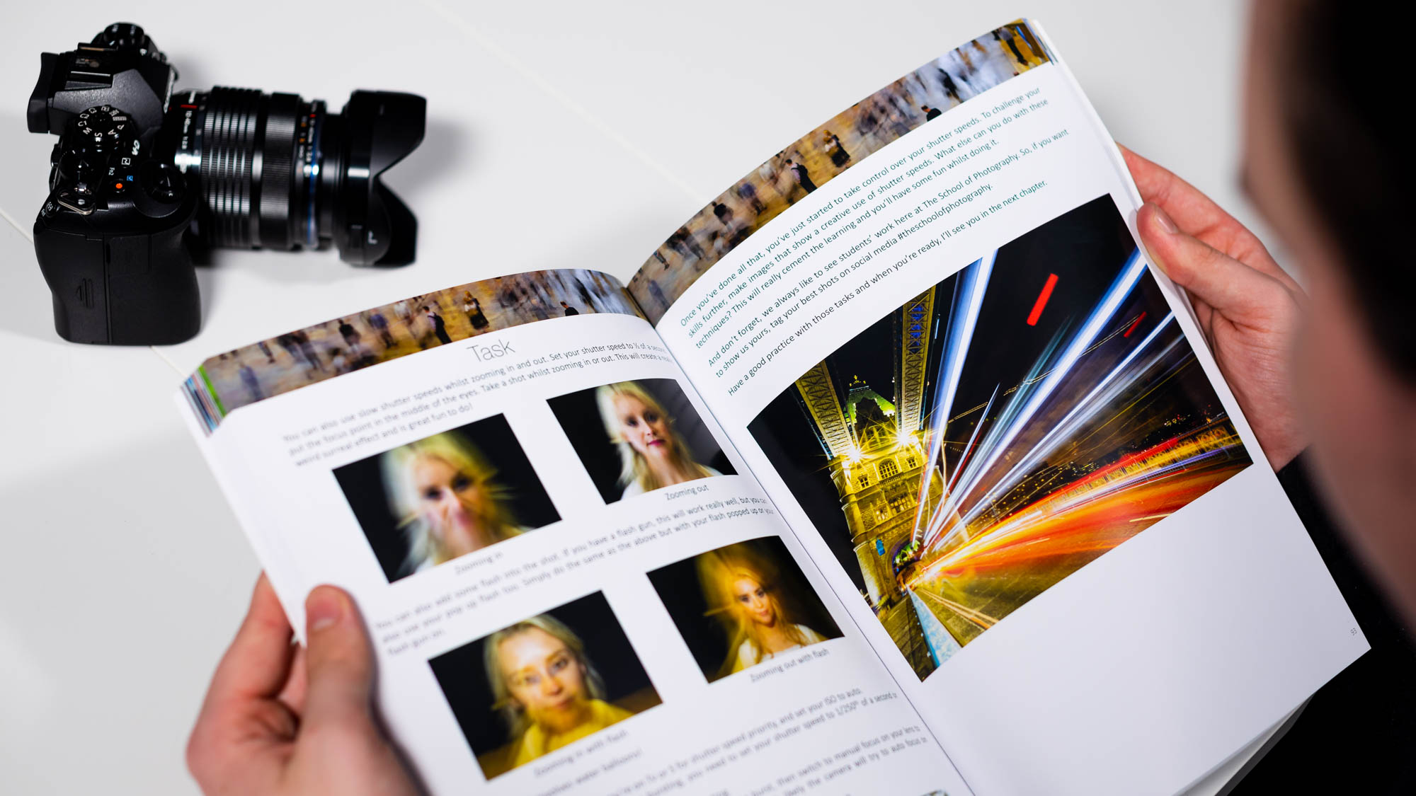 Looking inside photography book