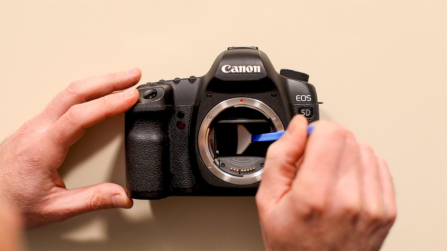 Clean the camera sensor with the swab