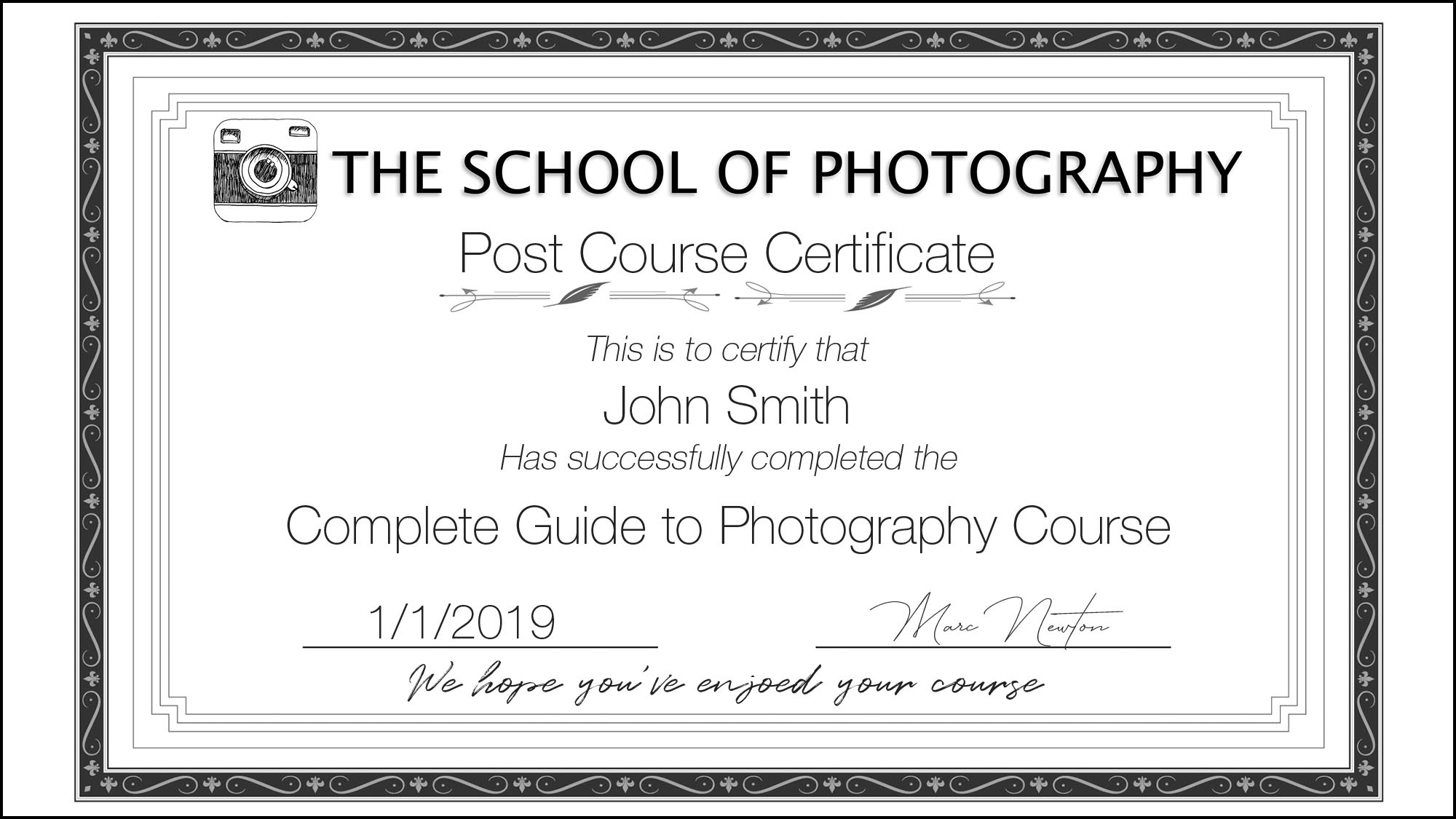 Get Certified - On completion of all our all courses, you receive a certificate from The School of Photography proving your success!
