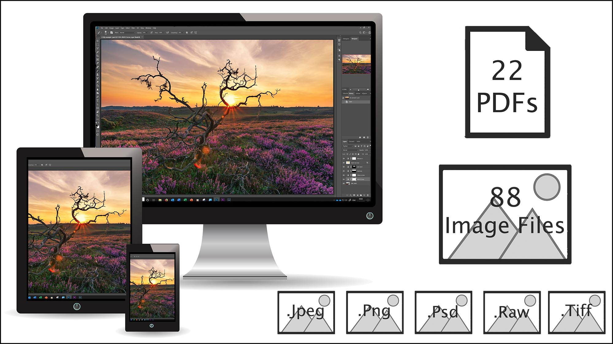 Downloadable course content - We're with you through this journey, from image to edit. Watch the videos, anywhere, anytime, download the PDFs to reinforce the knowledge learnt and use the high quality images provided to easily work along with the videos.