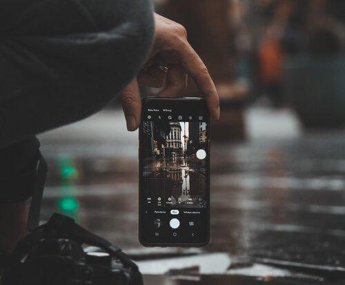 Paramètres de l'appareil photo sur un smartphone