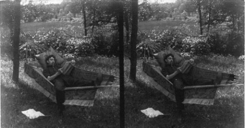 Young Man Lying in a Hammock   stereoscopic image - Library of Congress