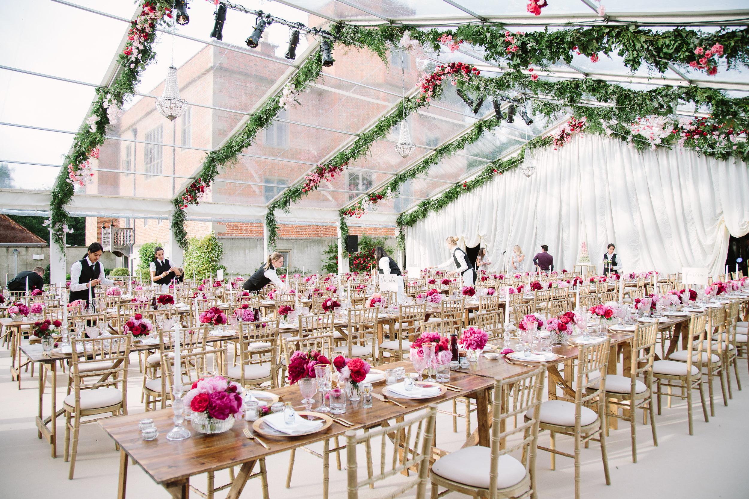 Raised Floor Wedding Marquee Interior Designed by Joseph Benjamin Marquees