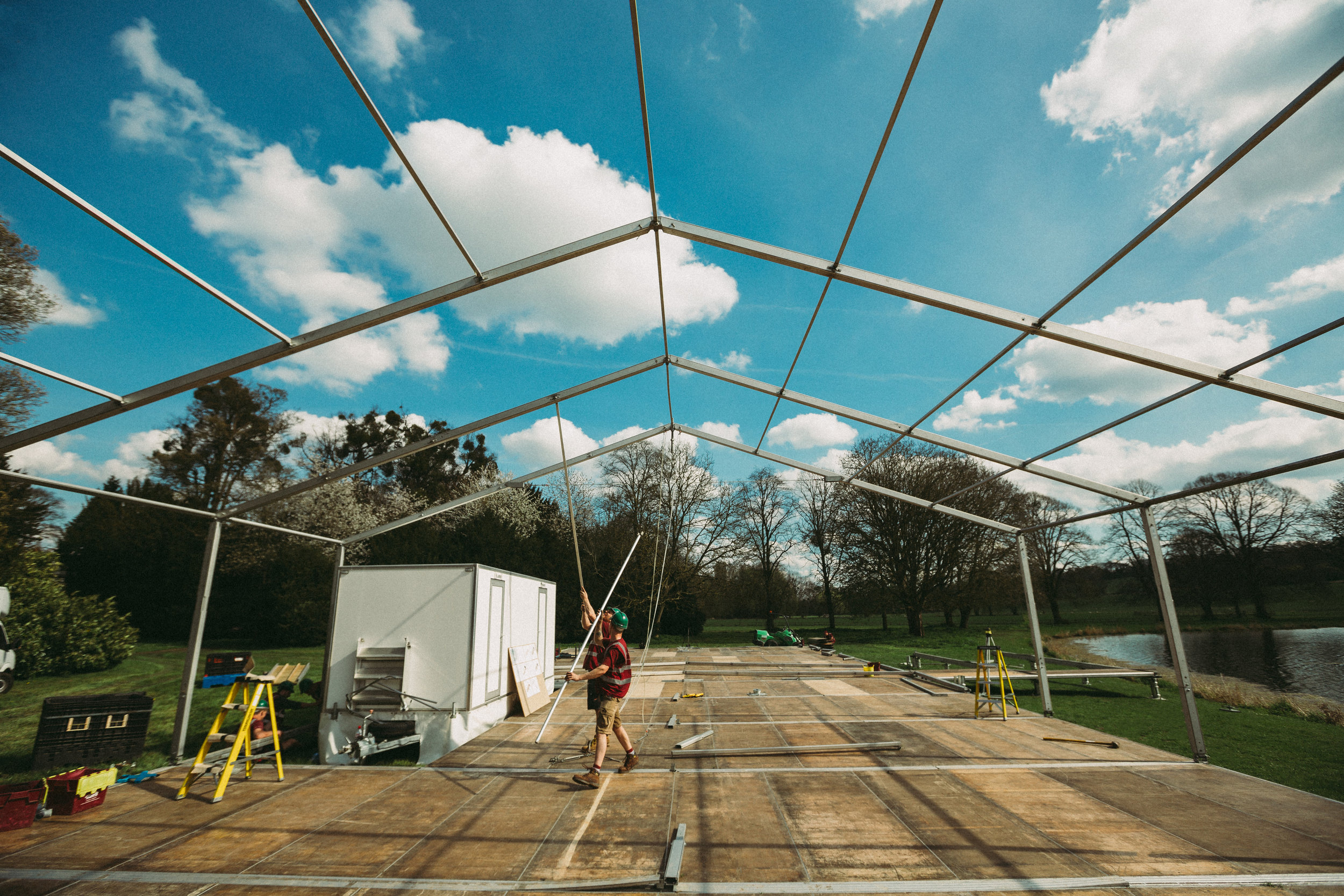 Wedding marquee under construction in Buckinghamshire