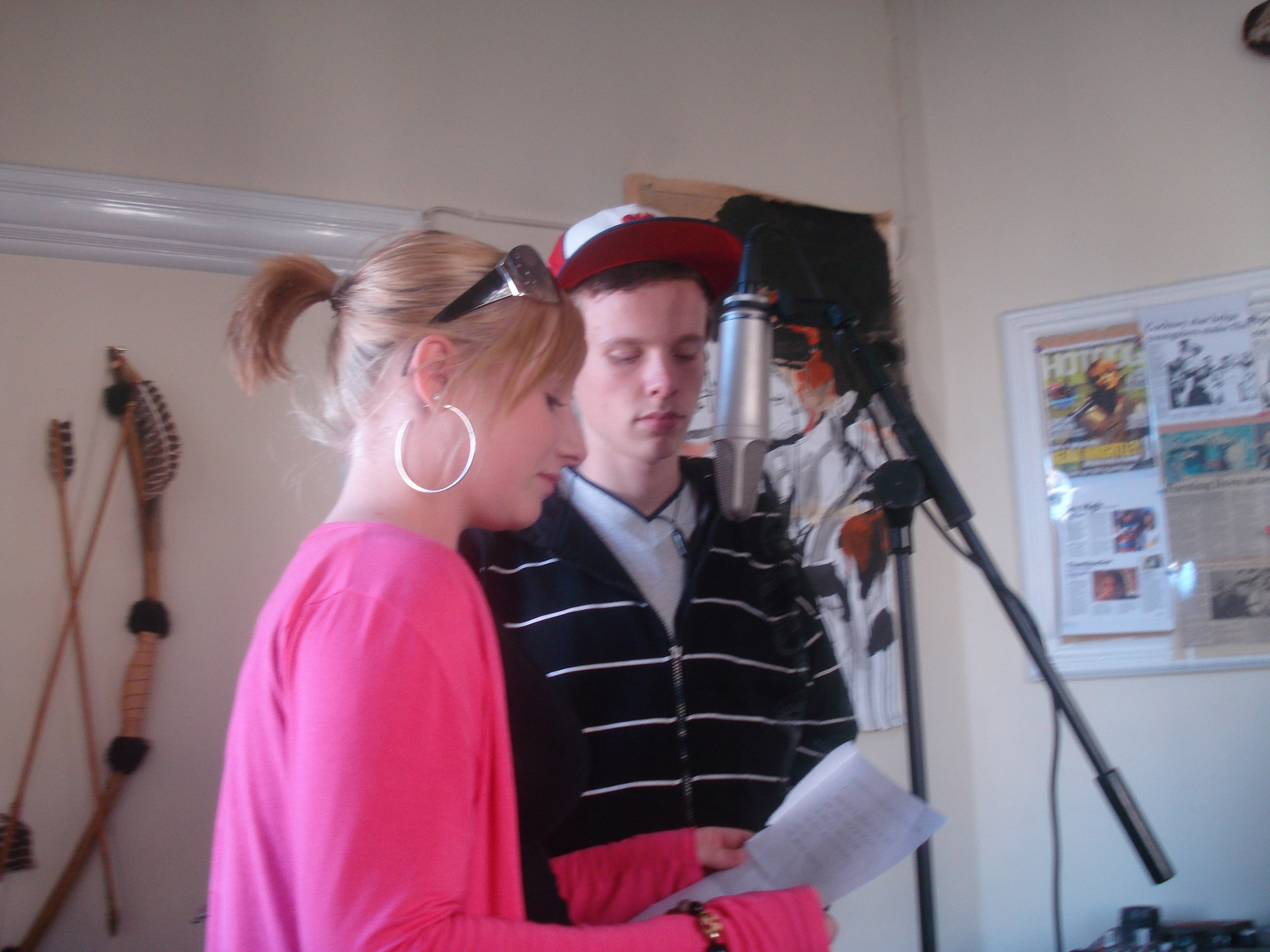 Recording music in the studio at Kandu Arts