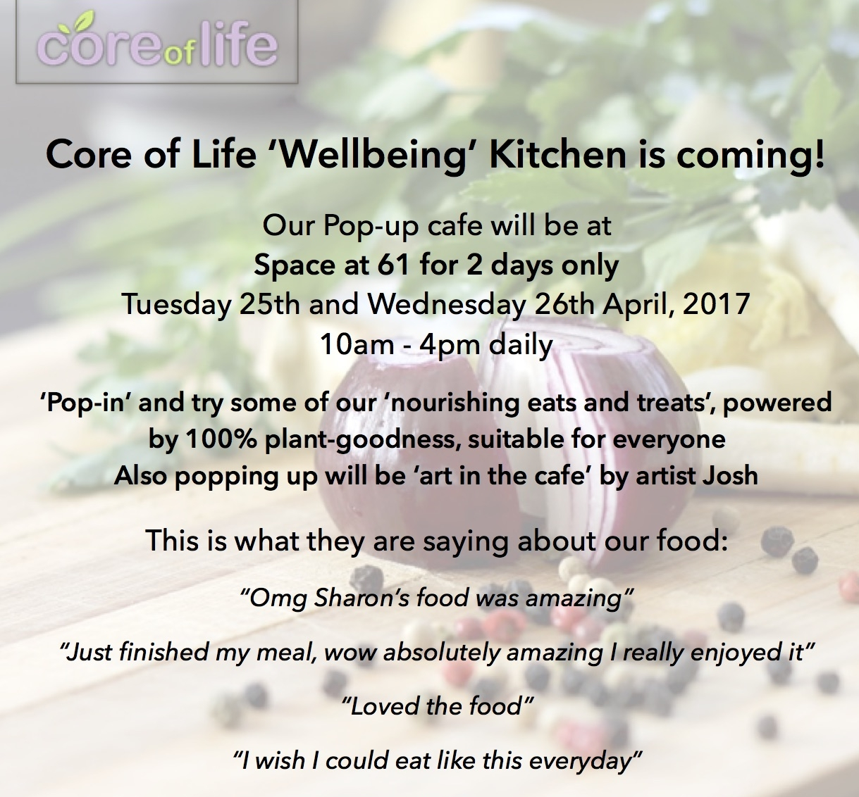 Coreoflife.co.uk - Pop Up Wellbeing Kitchen April 2017