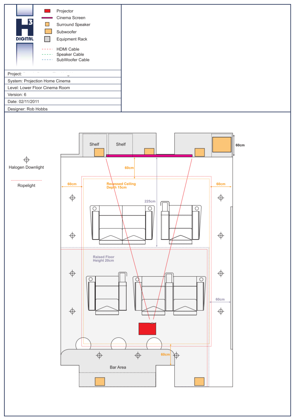 Overhead Cinema Design in AutoCAD