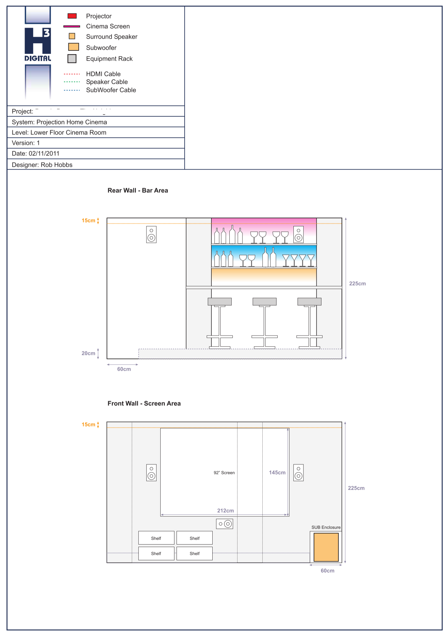 Front and Rear Cinema Design in AutoCAD