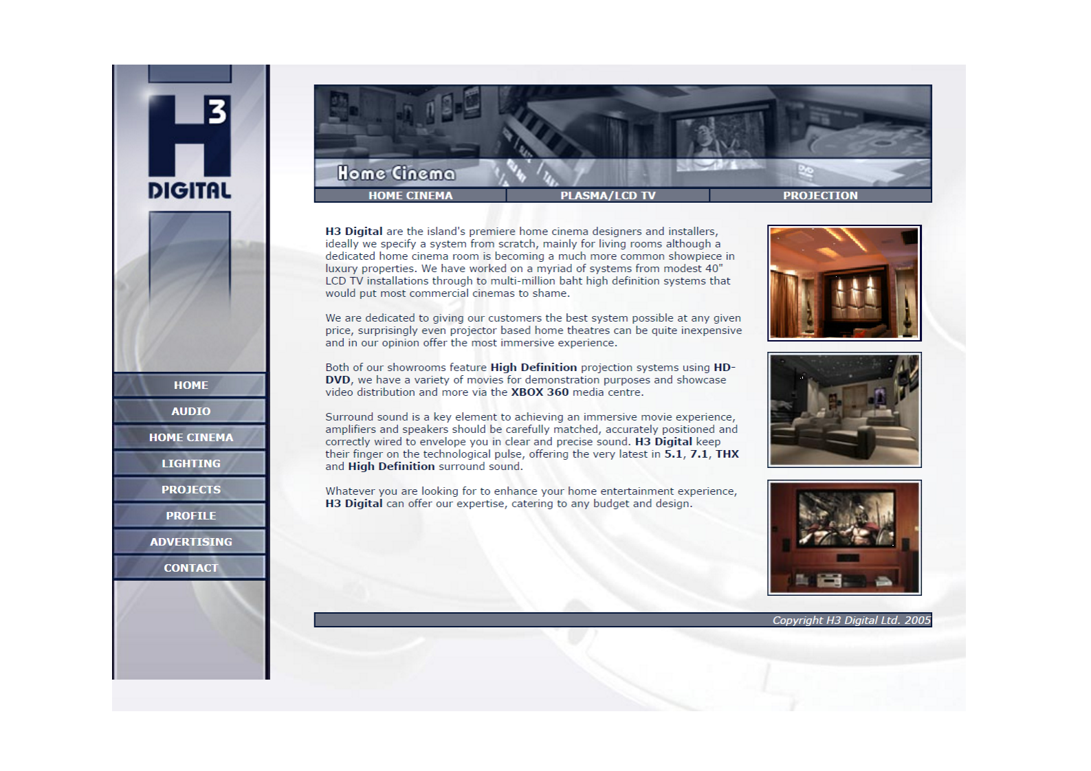 Home Cinema web page from 2007