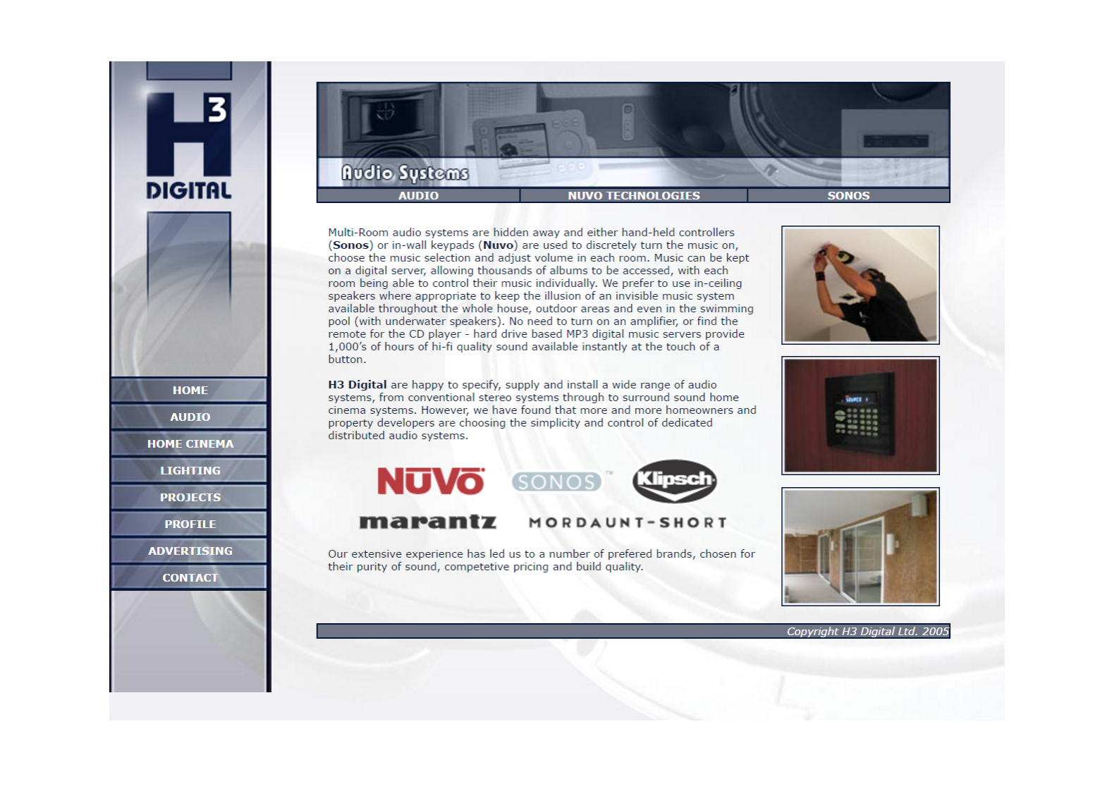 Audio Systems web page from 2007