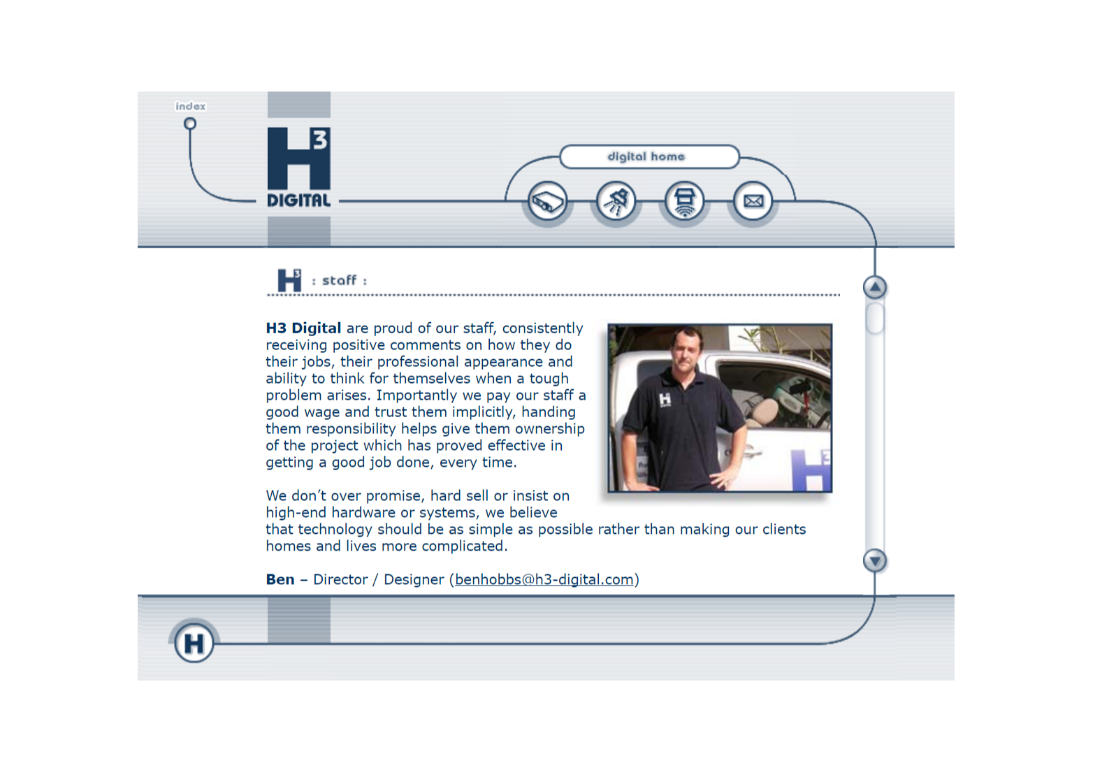 Staff page from H3 2005 Website