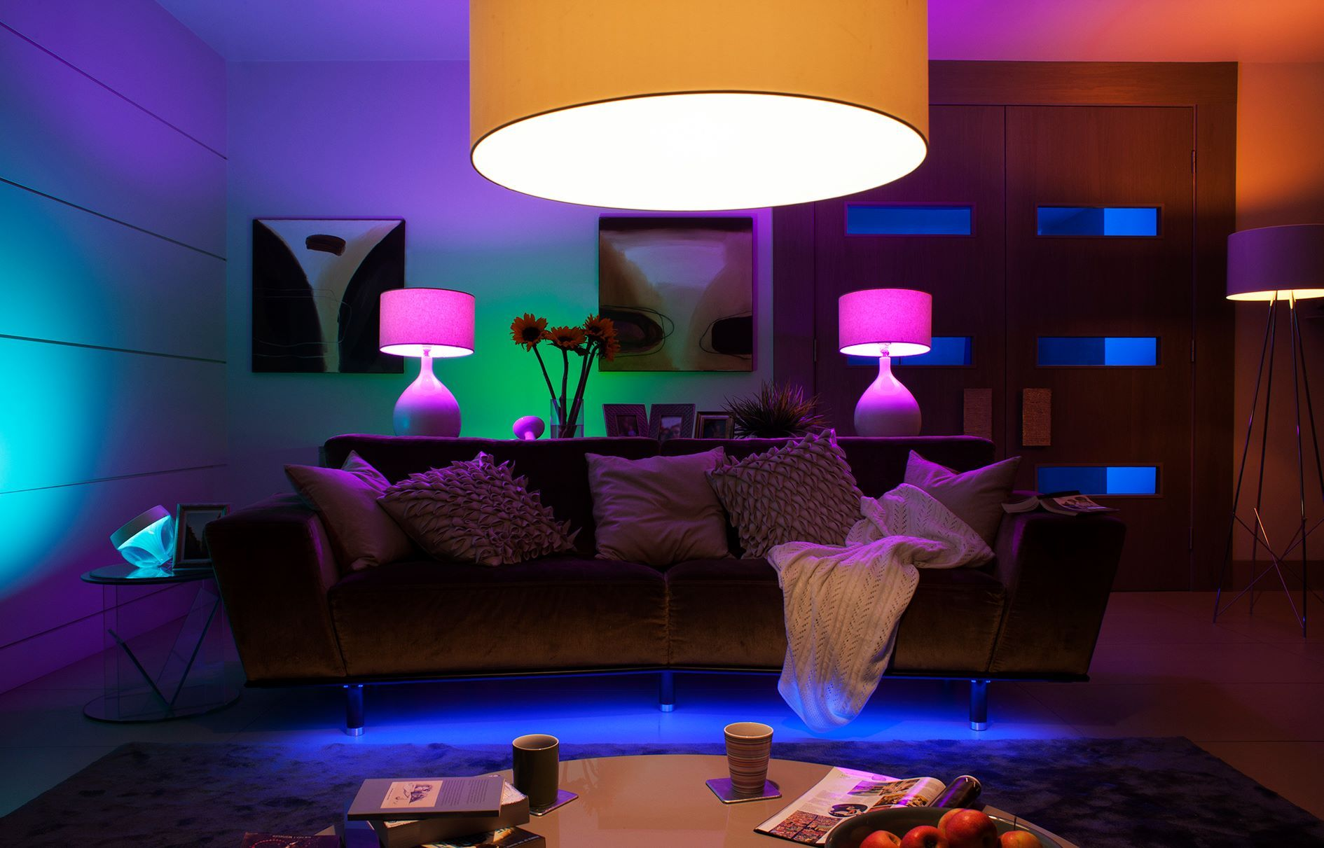 Philips Hue Bulbs allow a wide range of lighting colours to be controlled in your home.